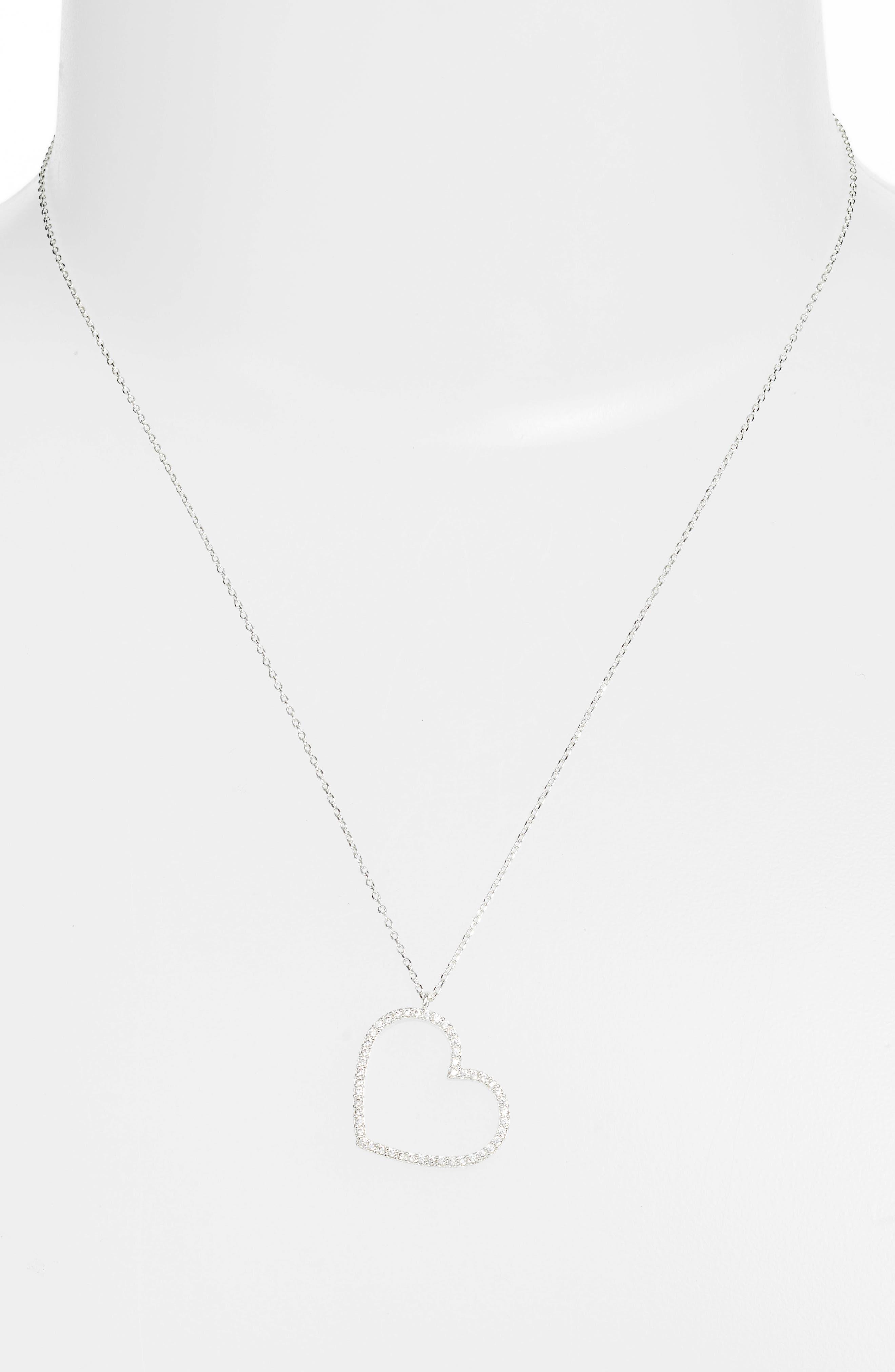 Cubic Zirconia Heart Necklace,                             Alternate thumbnail 2, color,                             Silver
