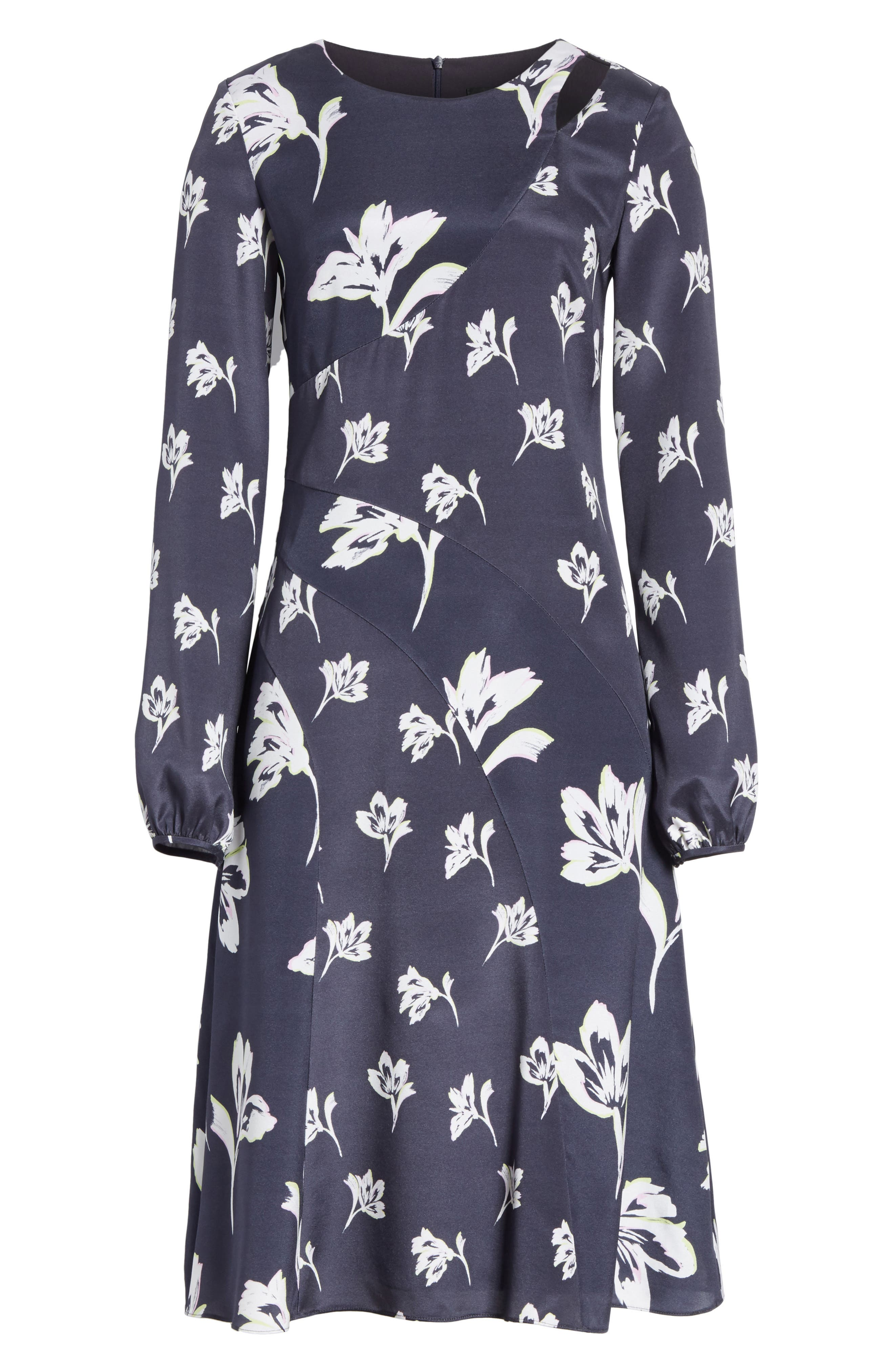 Falling Flower Print Stretch Silk Dress,                             Alternate thumbnail 7, color,                             Anthracite Multi