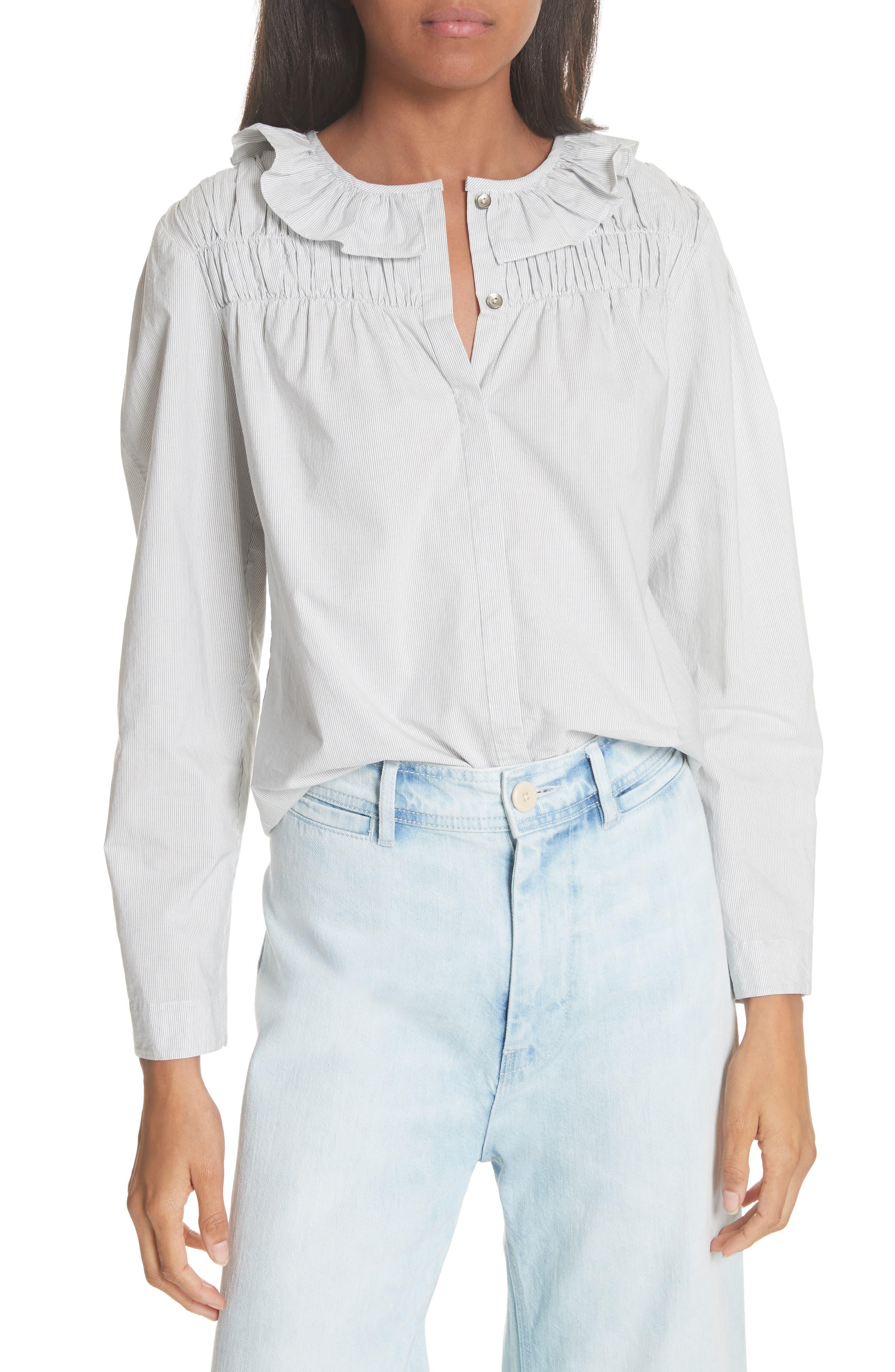 Ruffle Stripe Cotton Top,                         Main,                         color, Milk Combo