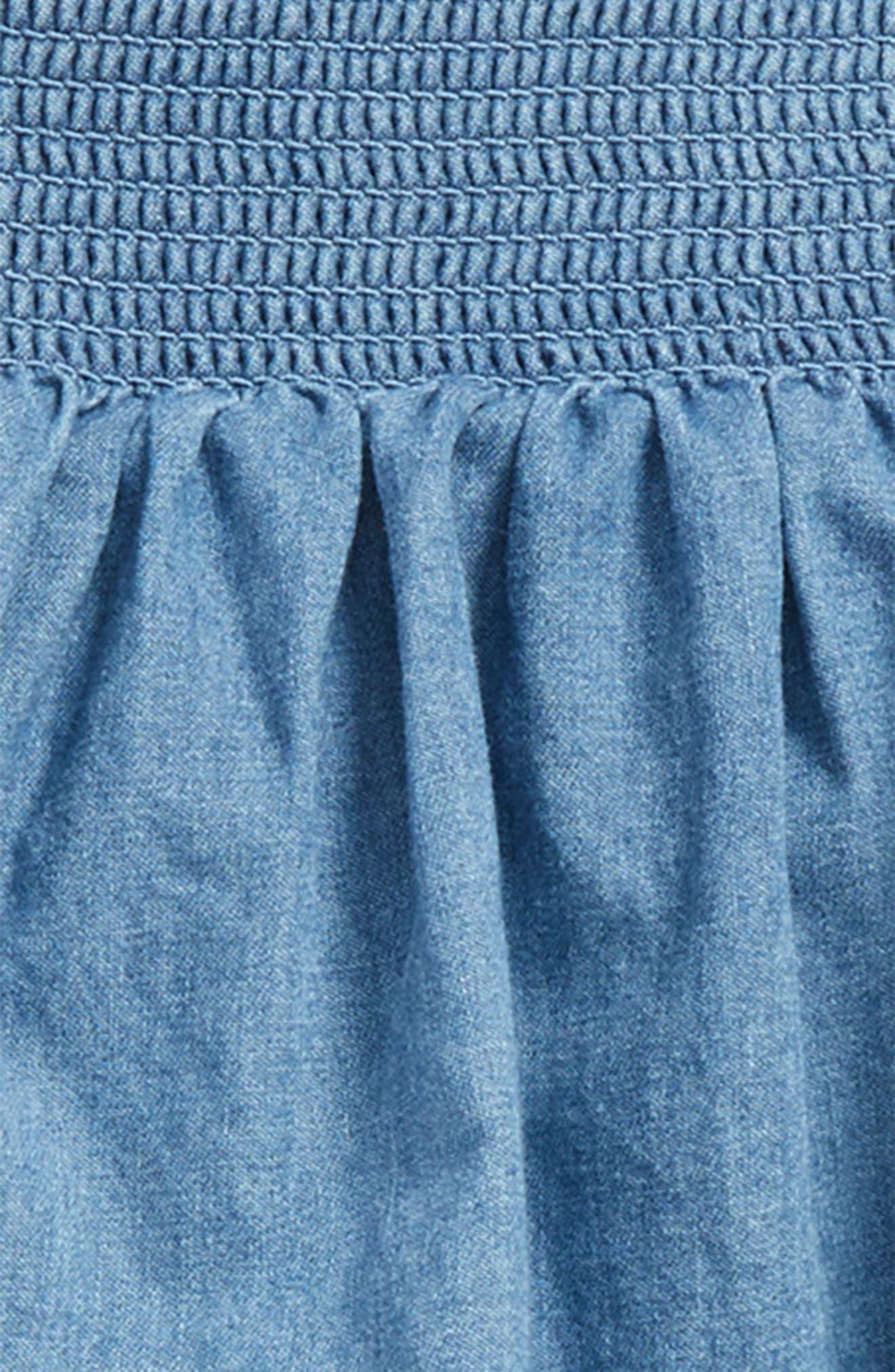 Ruffle Denim Skirt,                             Alternate thumbnail 2, color,                             Chambray Mch