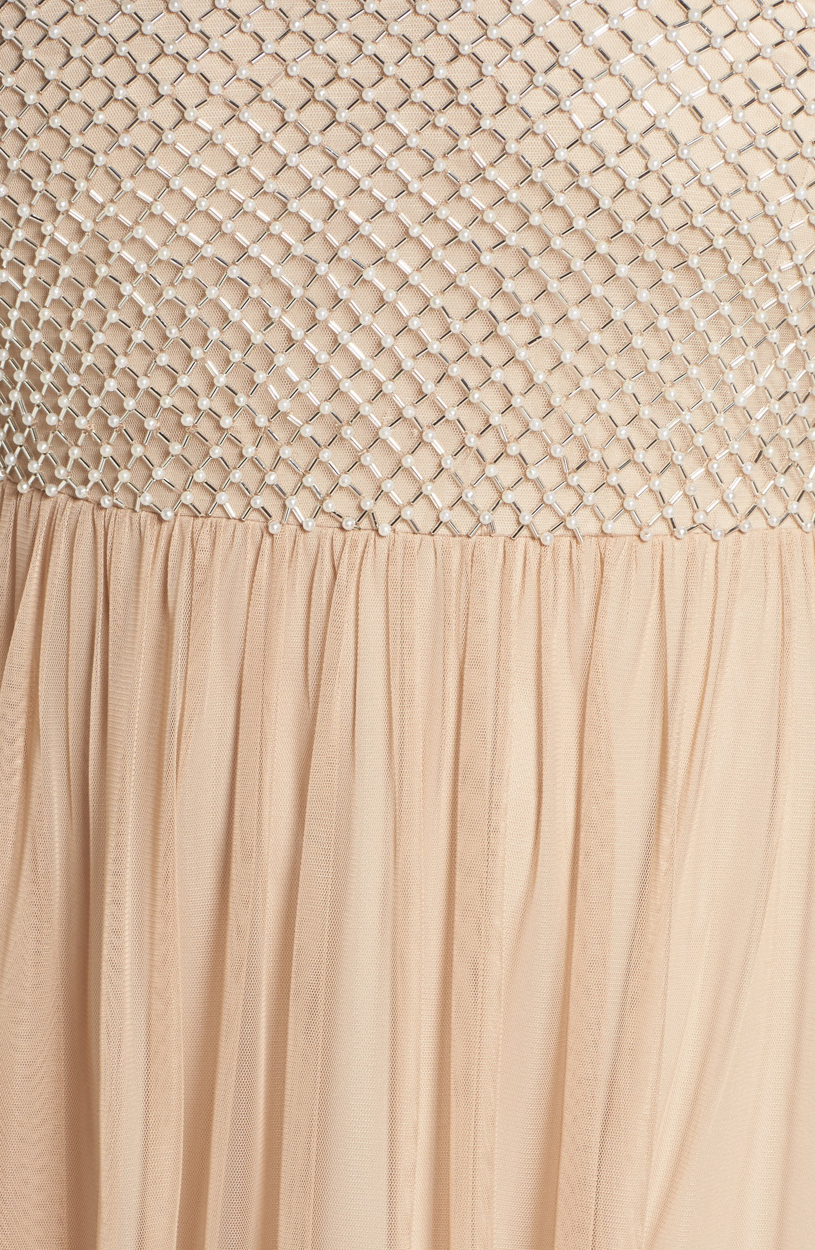 Beaded & Tulle Gown,                             Alternate thumbnail 5, color,                             Champagne