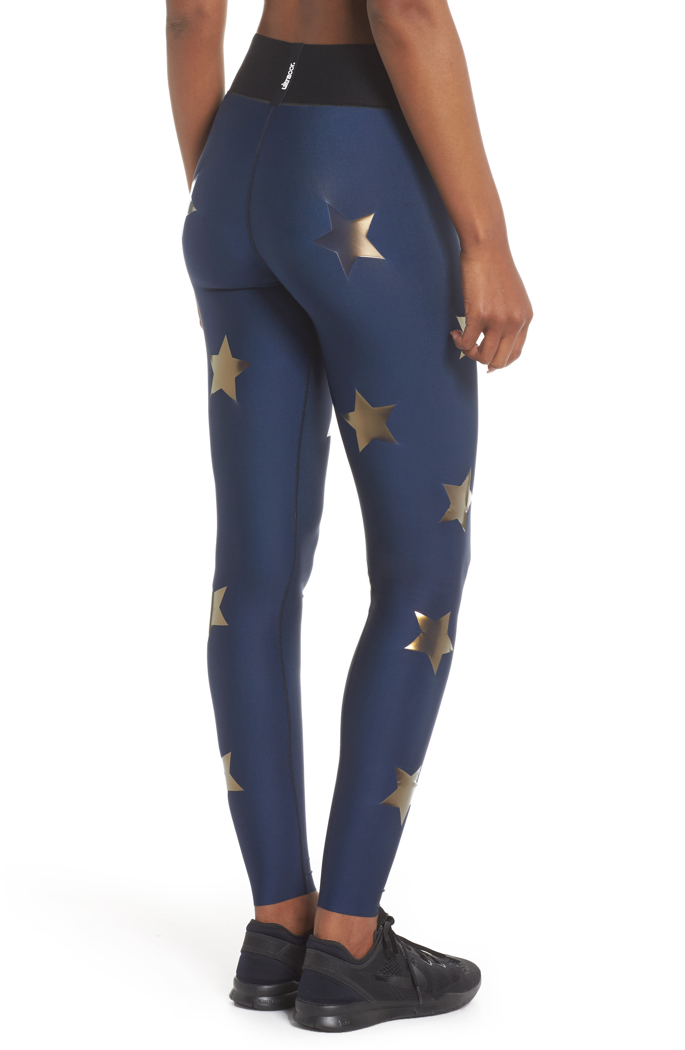 Lux Knockout Leggings,                             Alternate thumbnail 2, color,                             Obig - Oxford Blue Gold