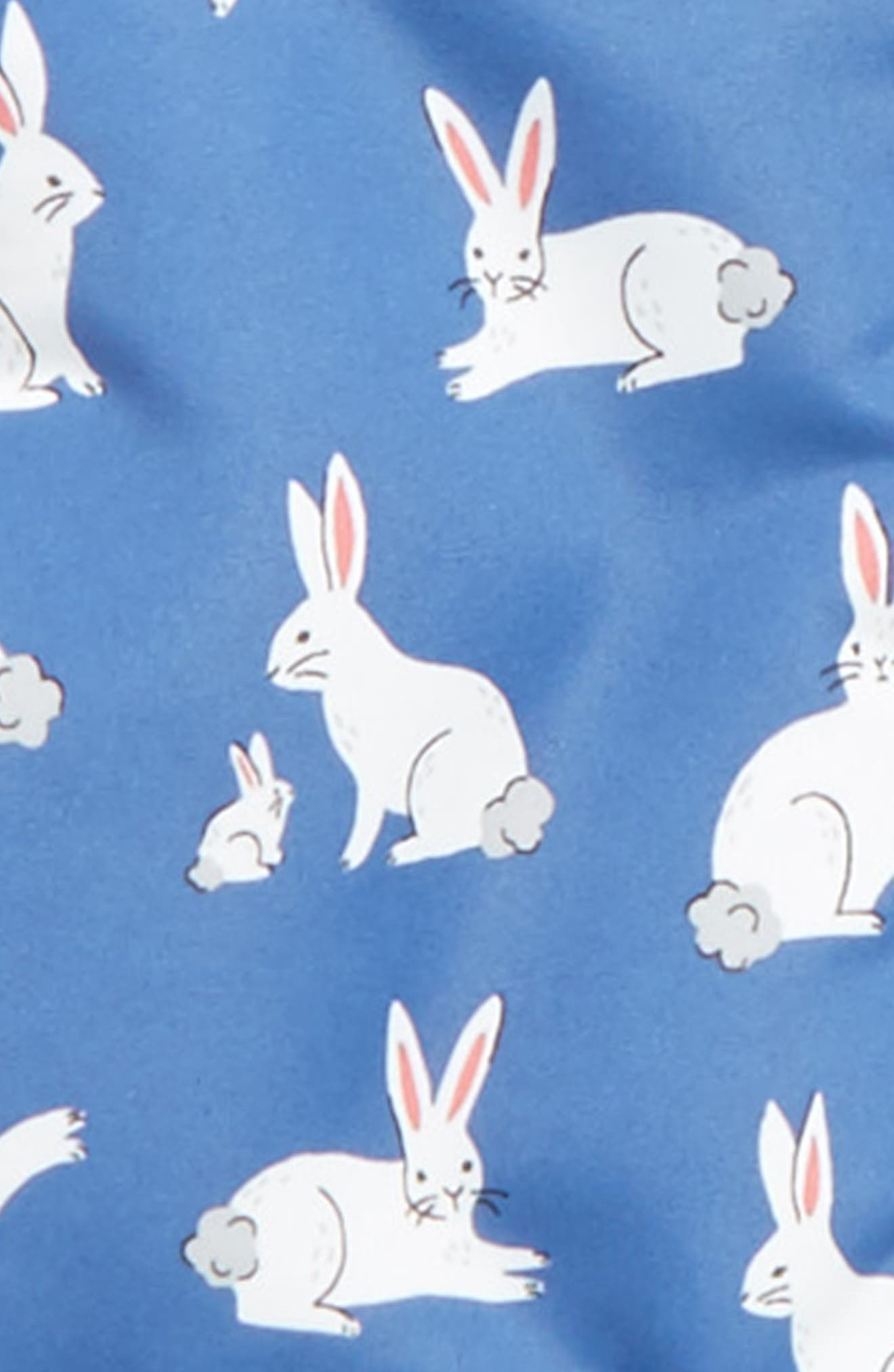 Bunny Print Water-Resistant Hooded Coat,                             Alternate thumbnail 2, color,                             Washed Bluebell