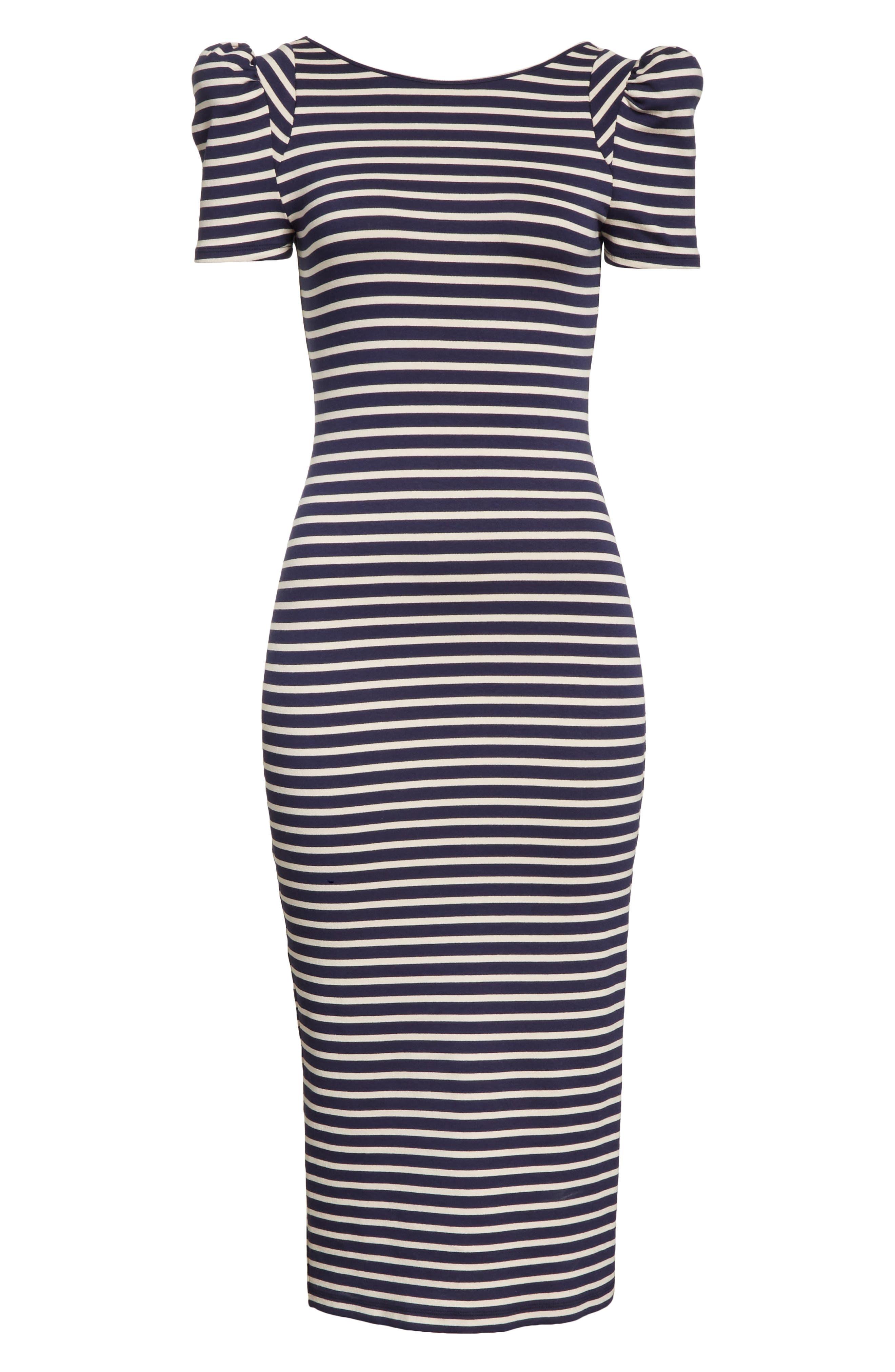 Puff Sleeve Body-Con Midi Dress,                             Alternate thumbnail 5, color,                             Navy Breton Stripe