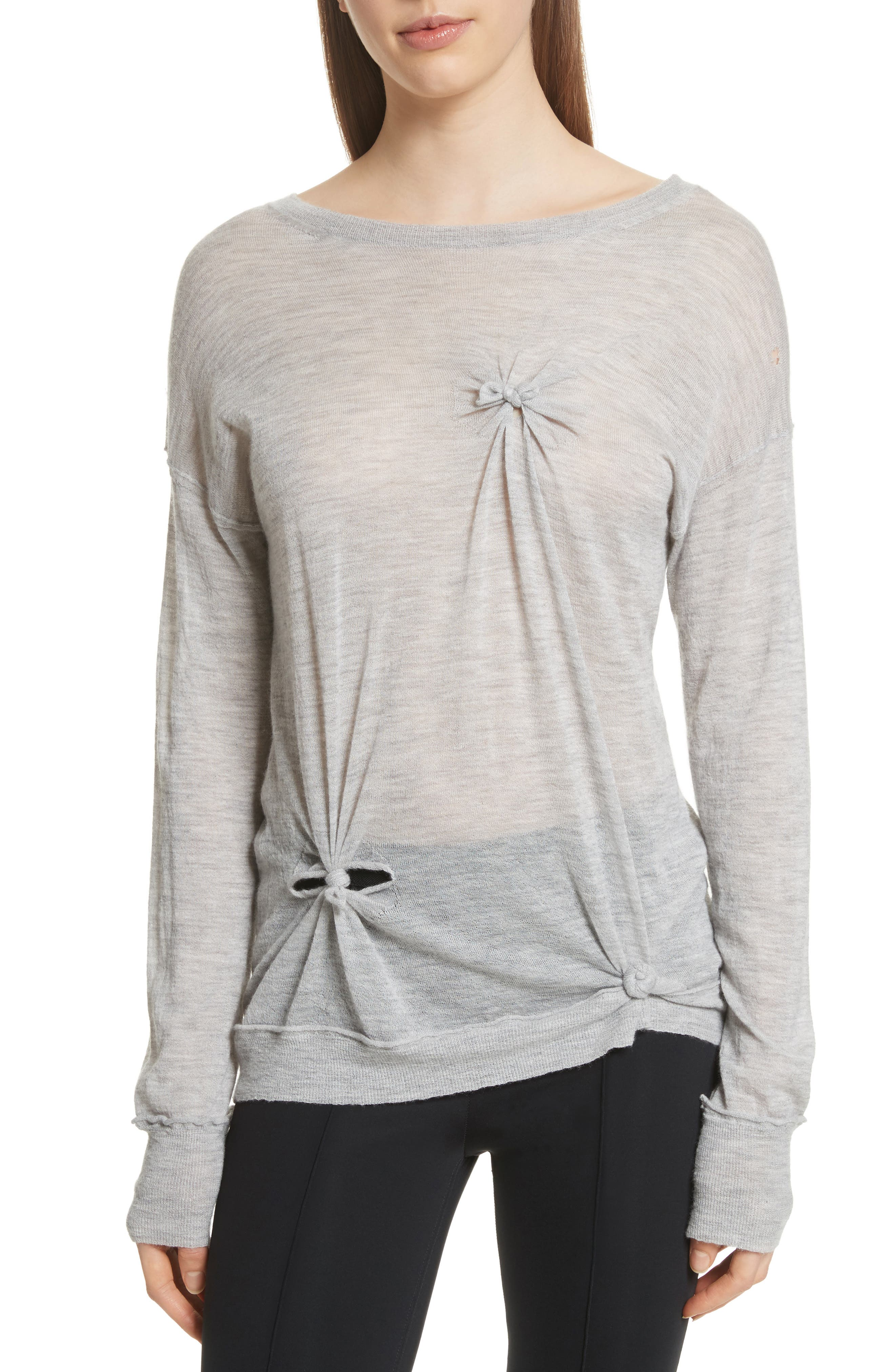 Knot Detail Cashmere Sweater,                         Main,                         color, Heather Grey