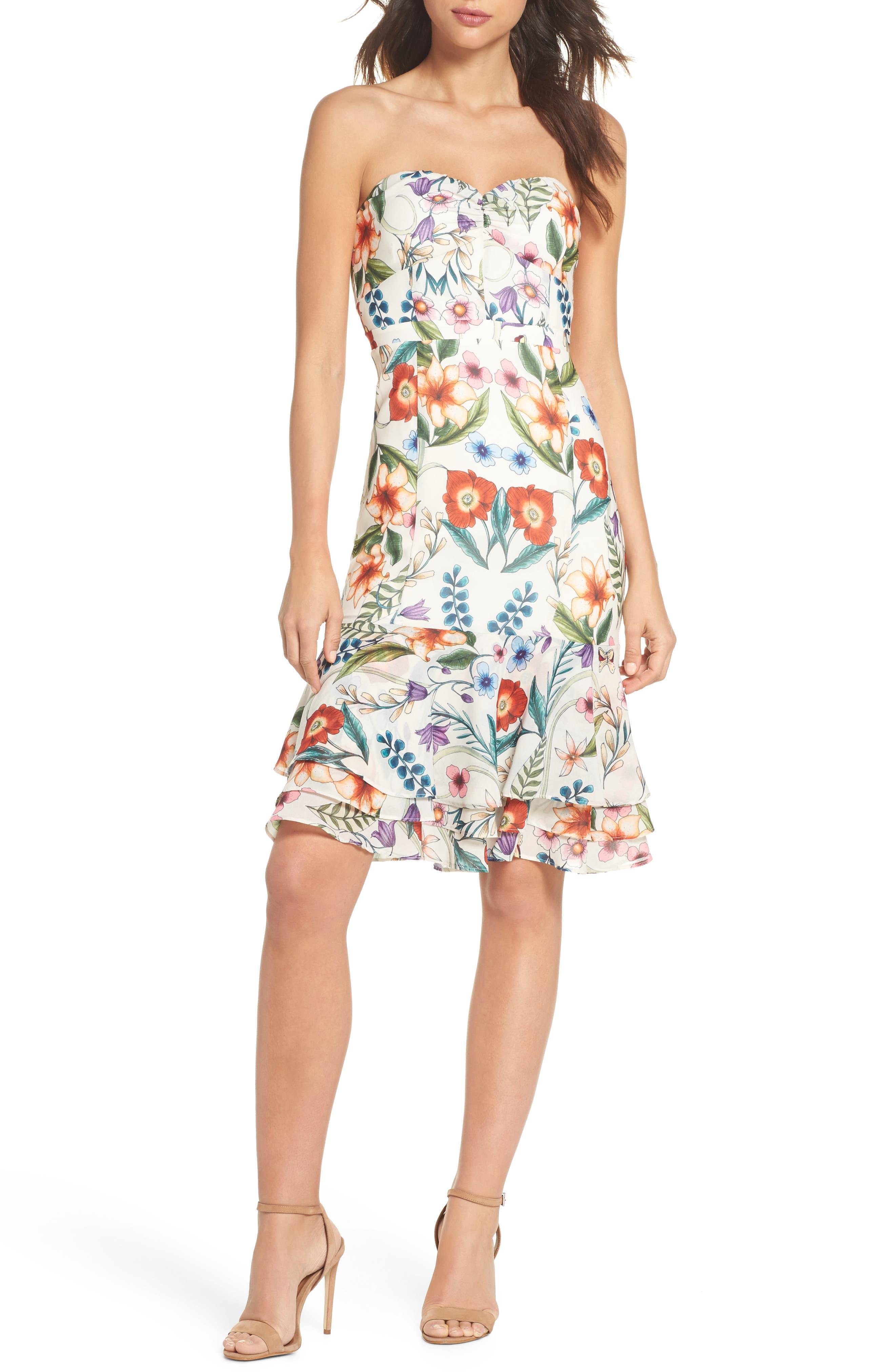 Gardenia Strapless Dress,                             Main thumbnail 1, color,                             Print