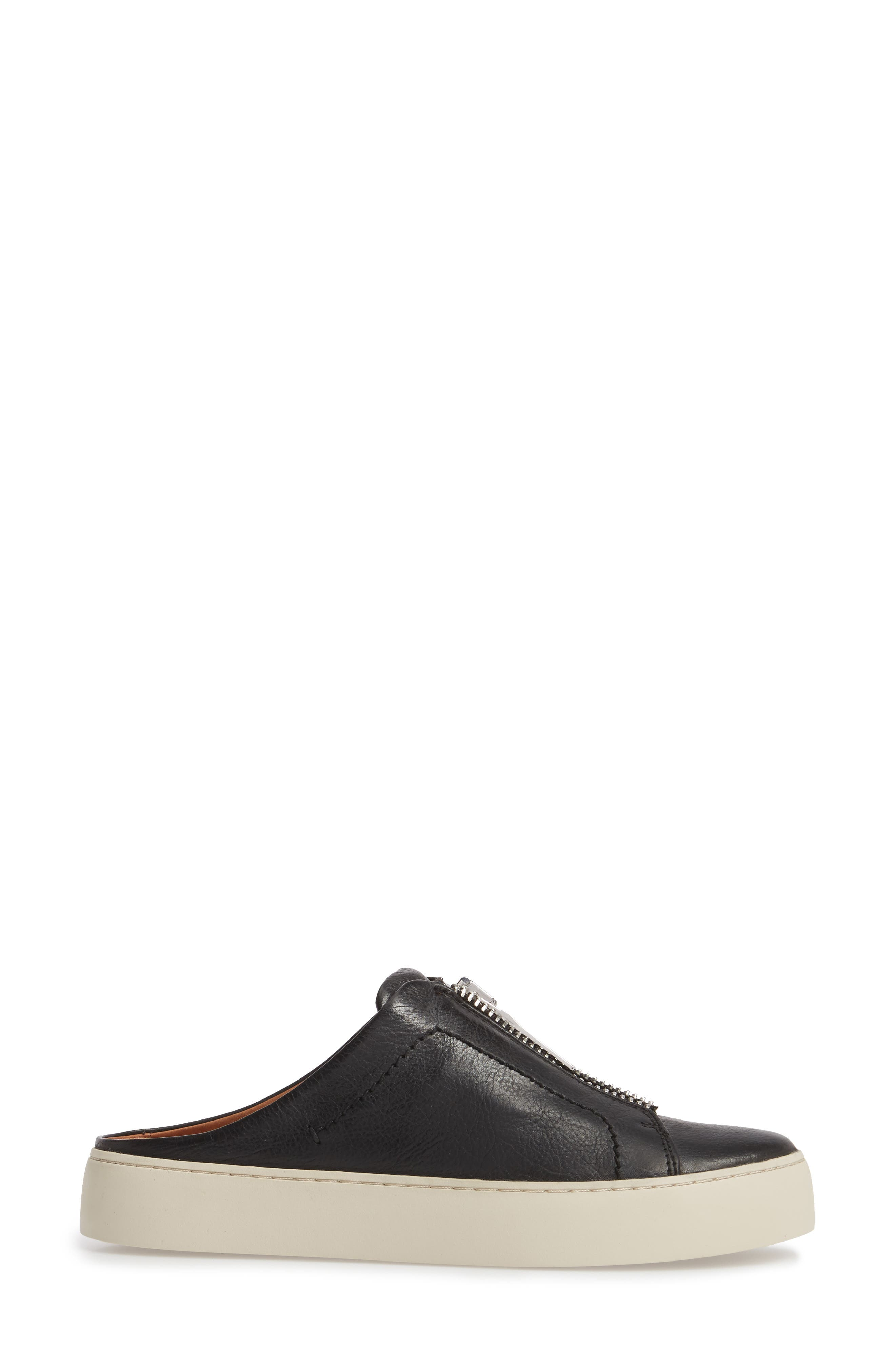 Lena Platform Sneaker Mule,                             Alternate thumbnail 3, color,                             Black Leather
