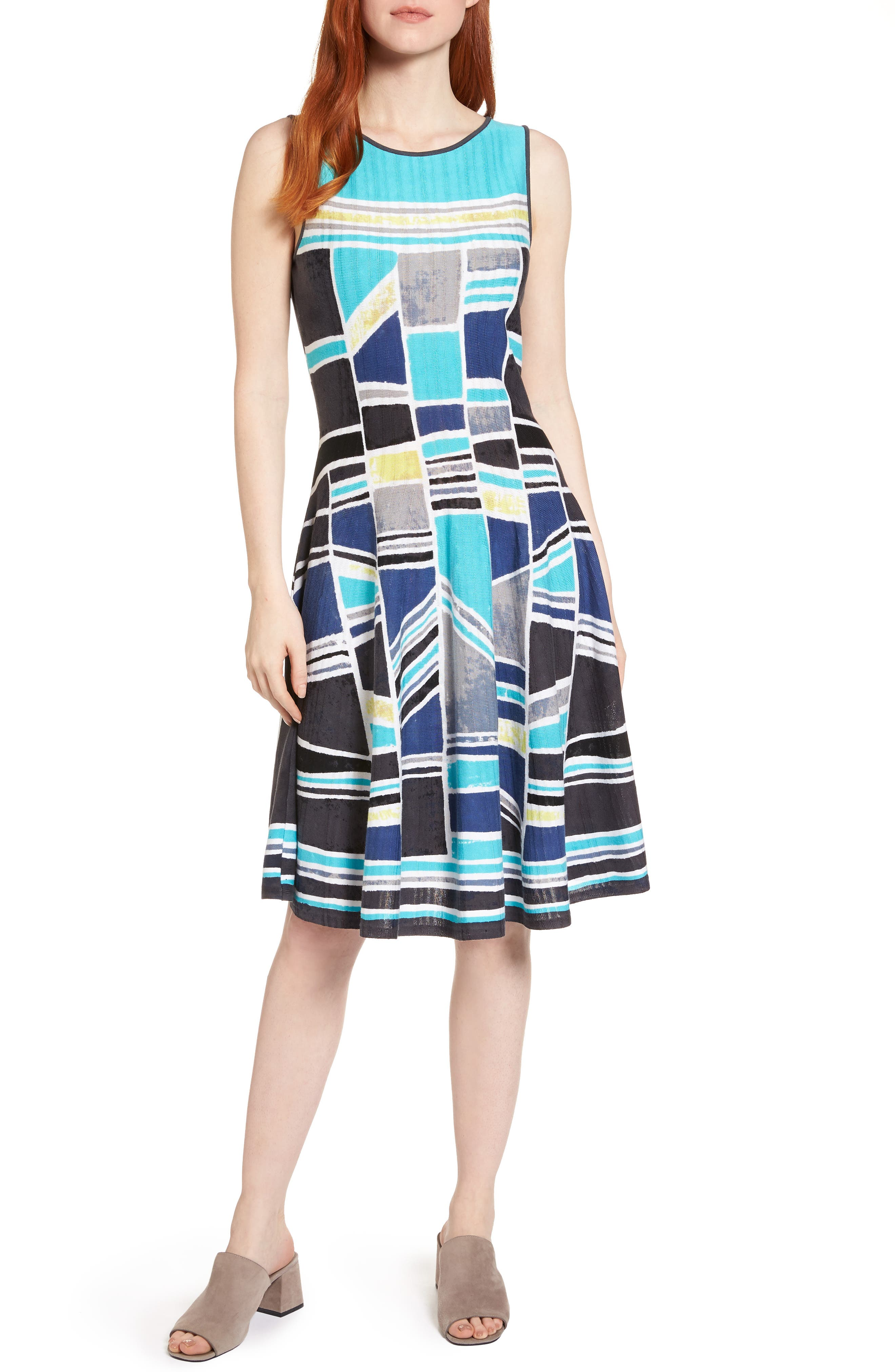 Going Places Twirl Fit & Flare Dress,                         Main,                         color, Multi