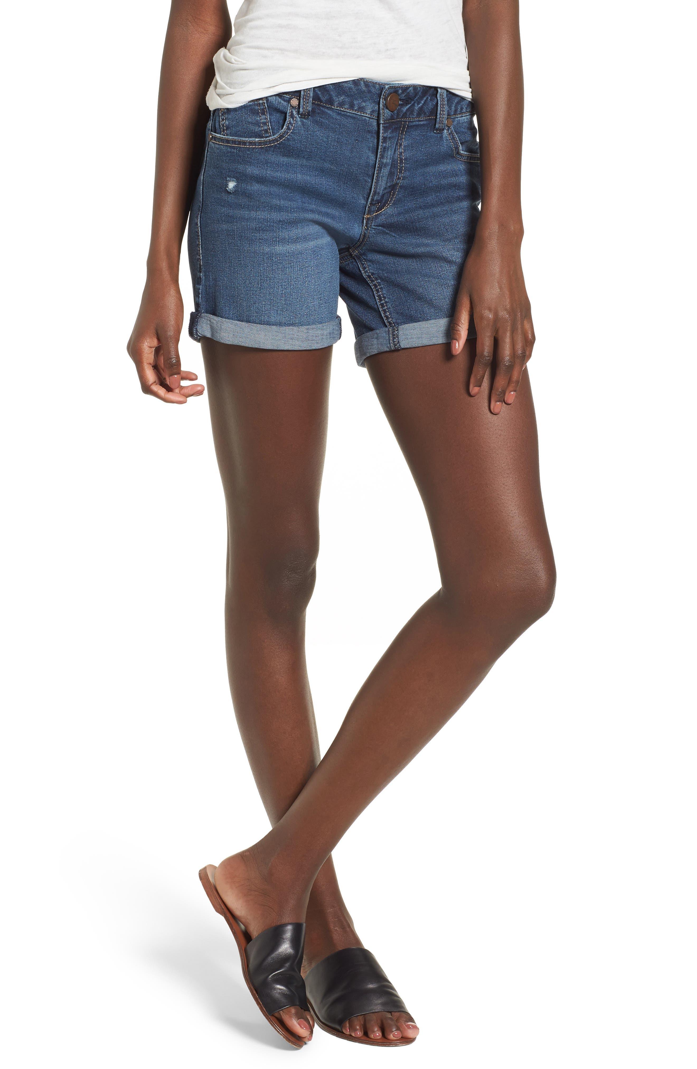 Roll Cuff Denim Shorts,                         Main,                         color, Sublime