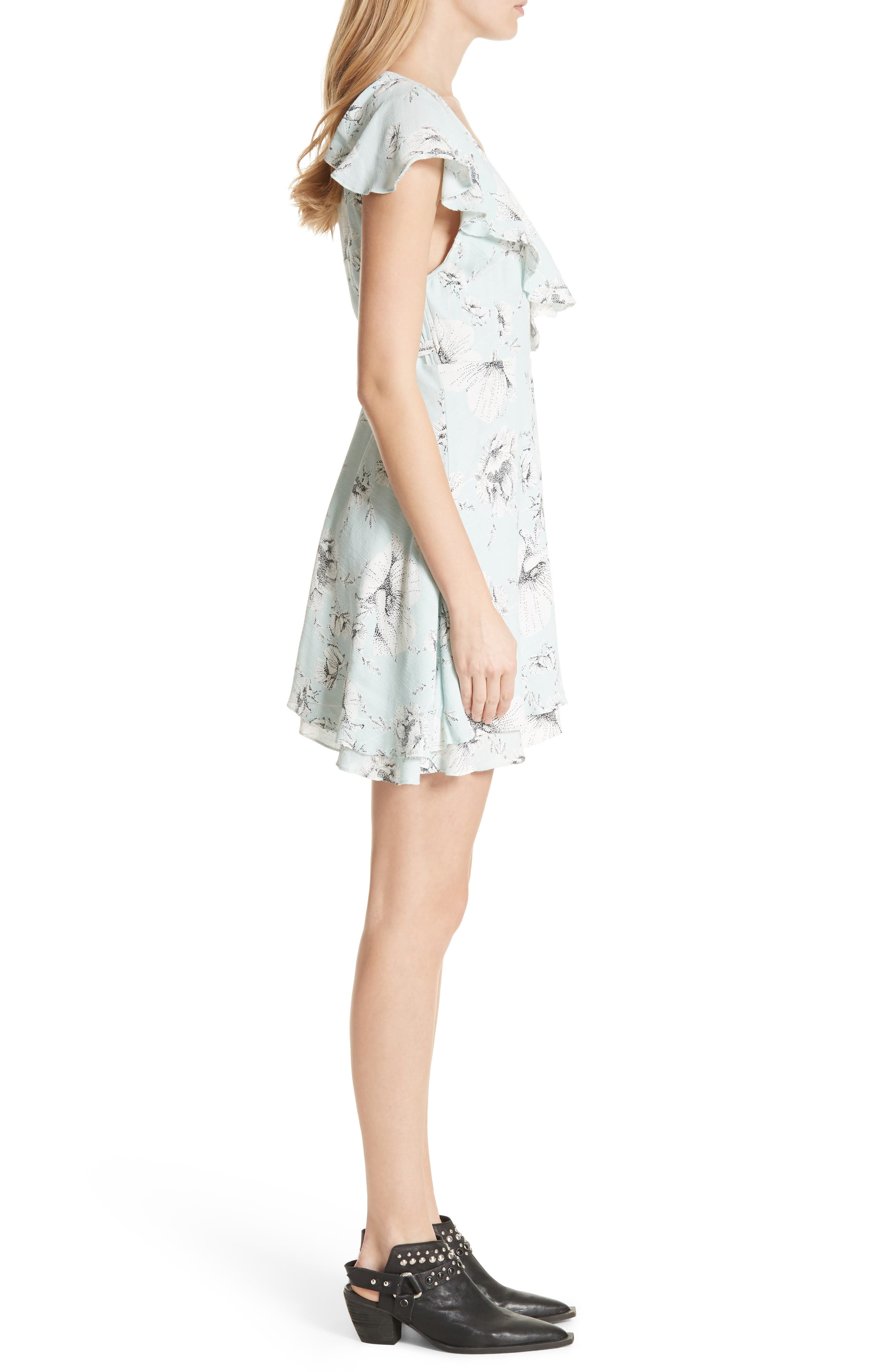 French Quarter Print Wrap Minidress,                             Alternate thumbnail 3, color,                             Mint
