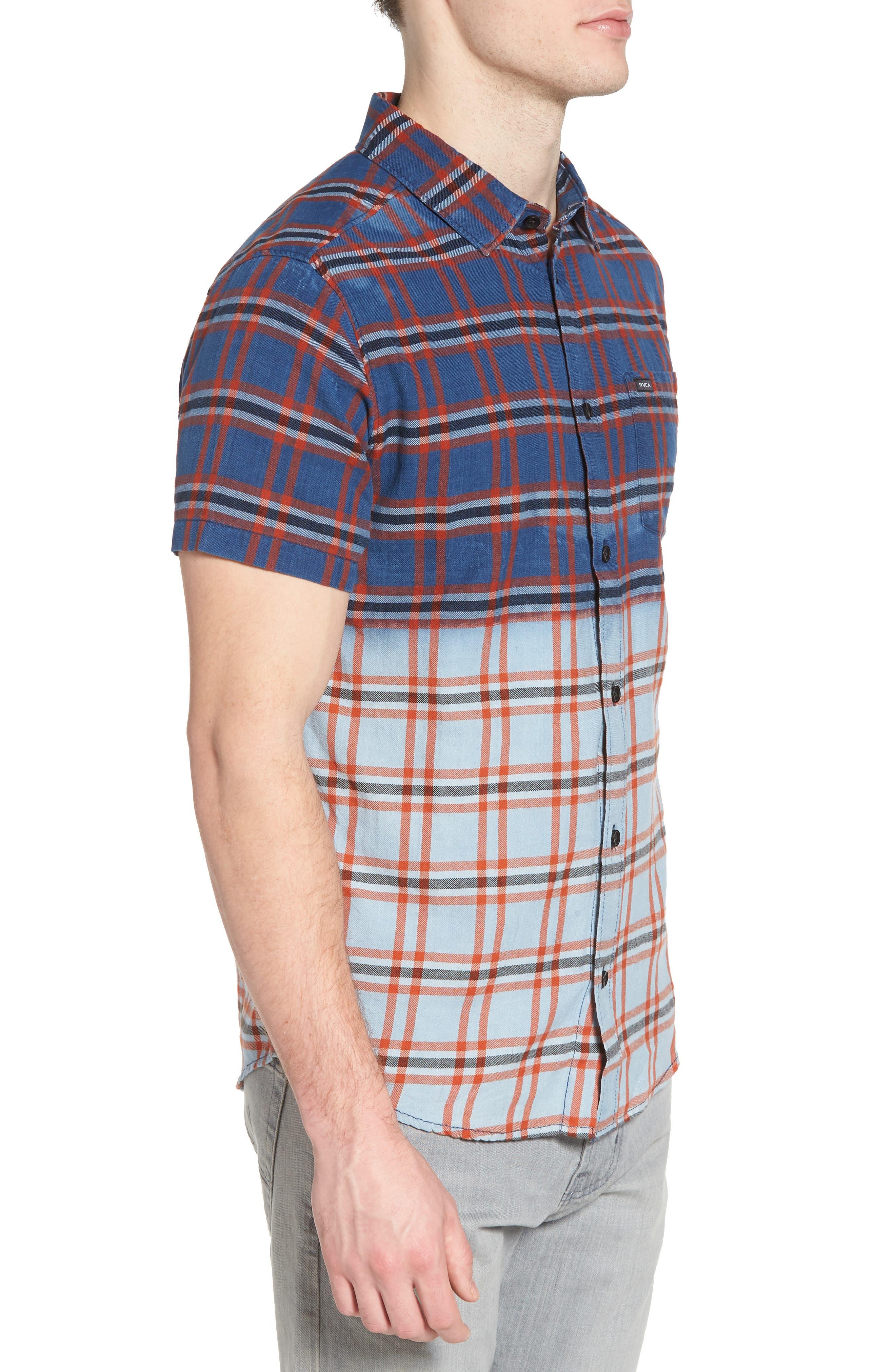 Prismatic Check Woven Shirt,                             Alternate thumbnail 3, color,                             Indigo Bleach