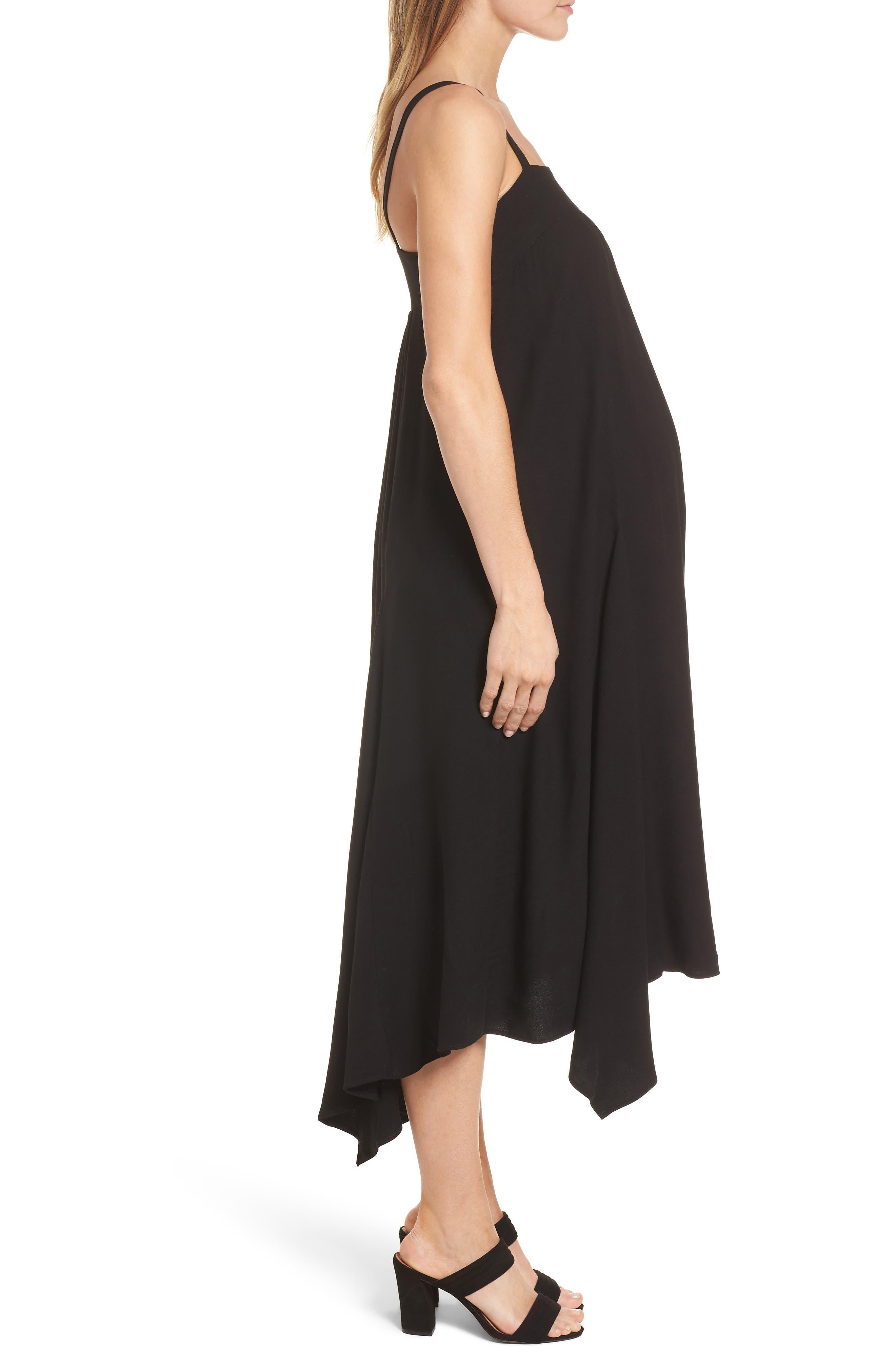 Carey Handkerchief Hem Maternity Dress,                             Alternate thumbnail 3, color,                             Caviar Black