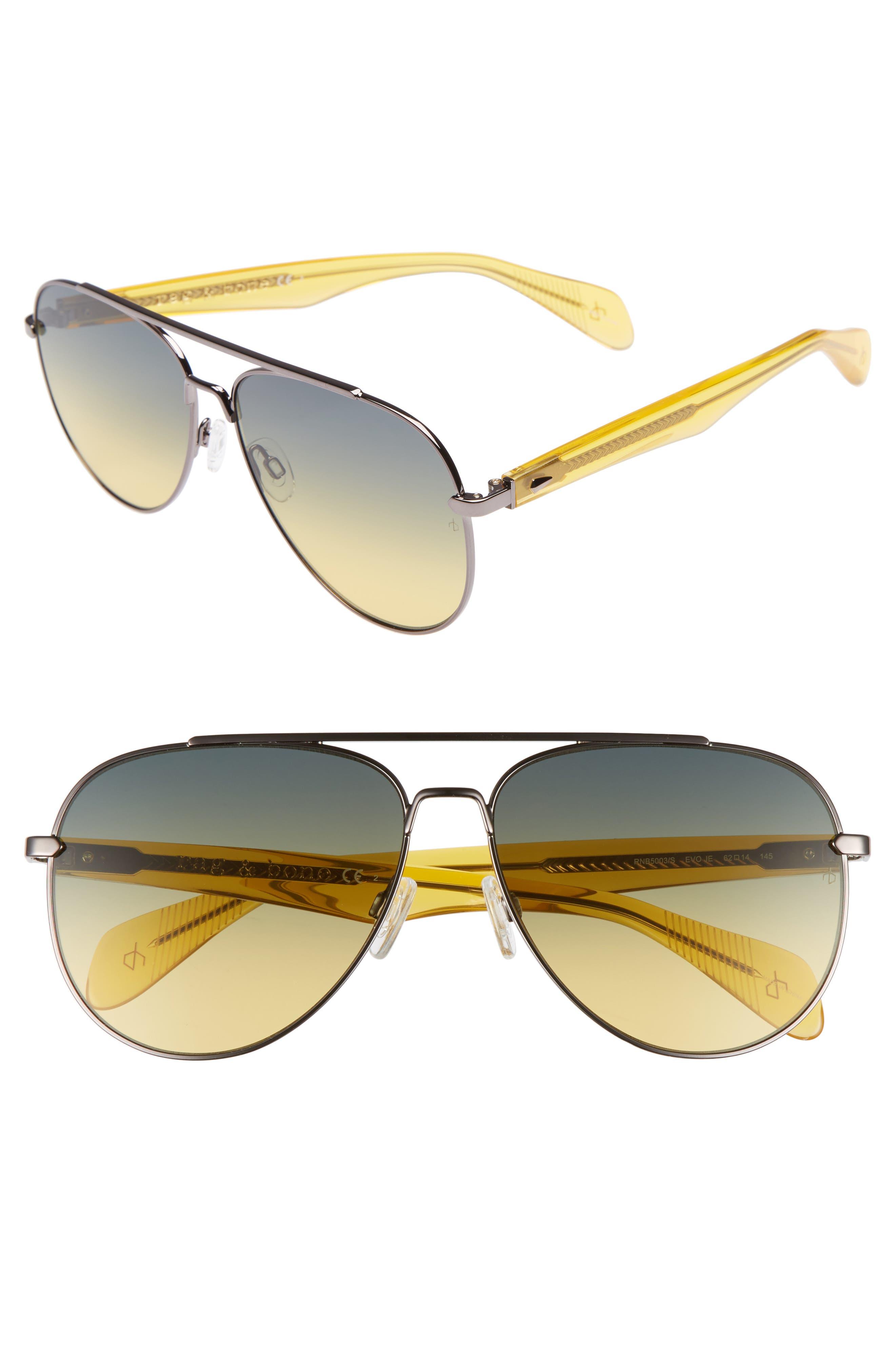 62mm Oversize Aviator Sunglasses,                         Main,                         color, Ruthenium/ Yellow