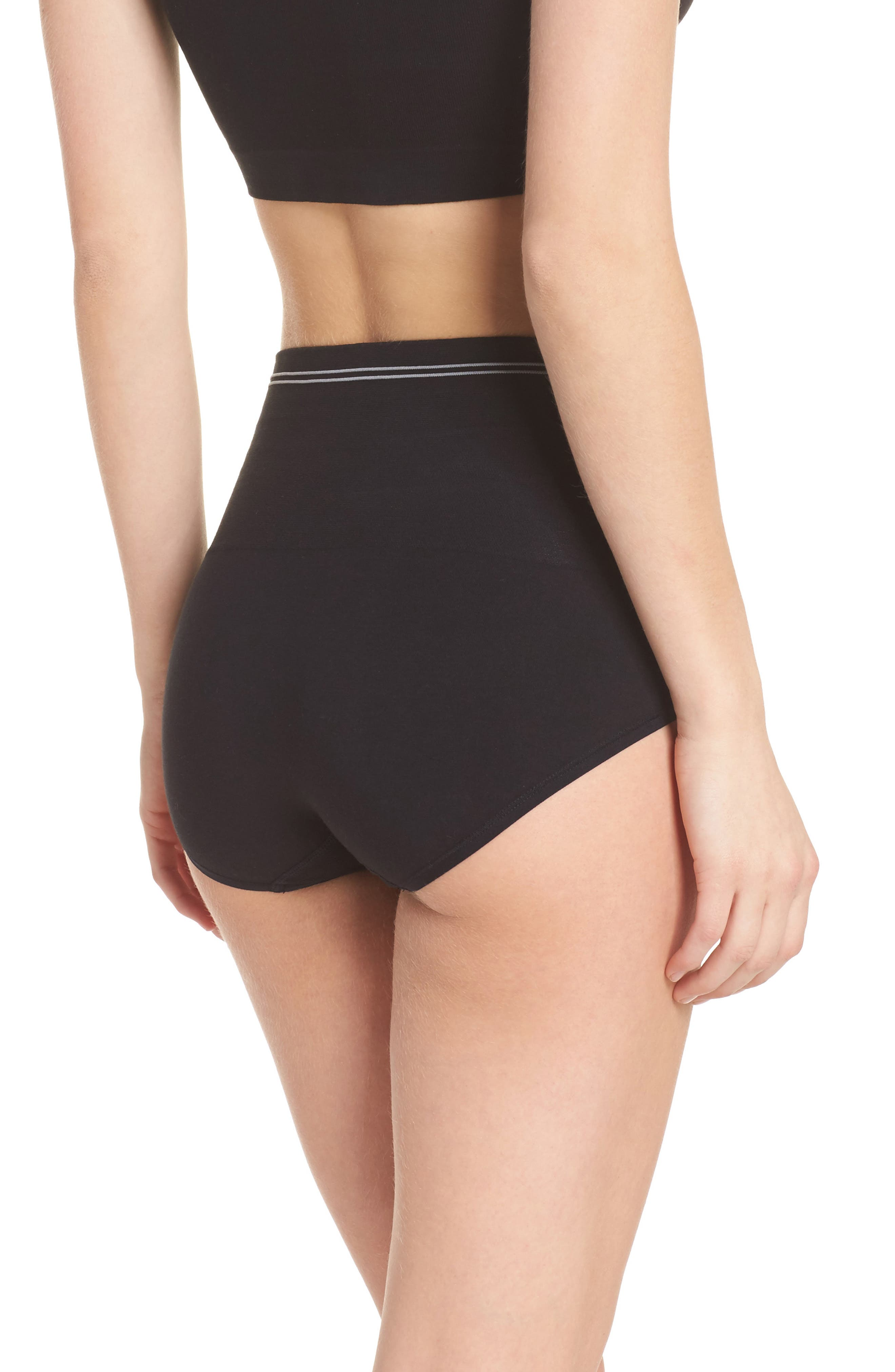 Seamless Shaping Briefs,                             Alternate thumbnail 2, color,                             Black