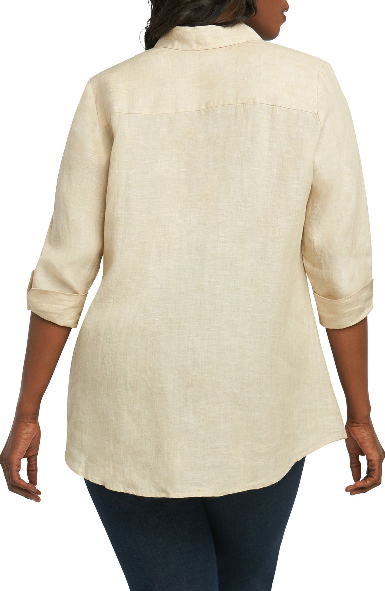 Alternate Image 2  - Foxcroft Cici Linen Chambray Shirt (Plus Size)