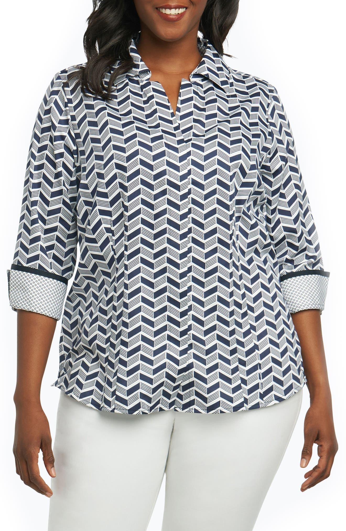 Foxcroft Taylor Chevron Non Iron Cotton Shirt (Plus Size)