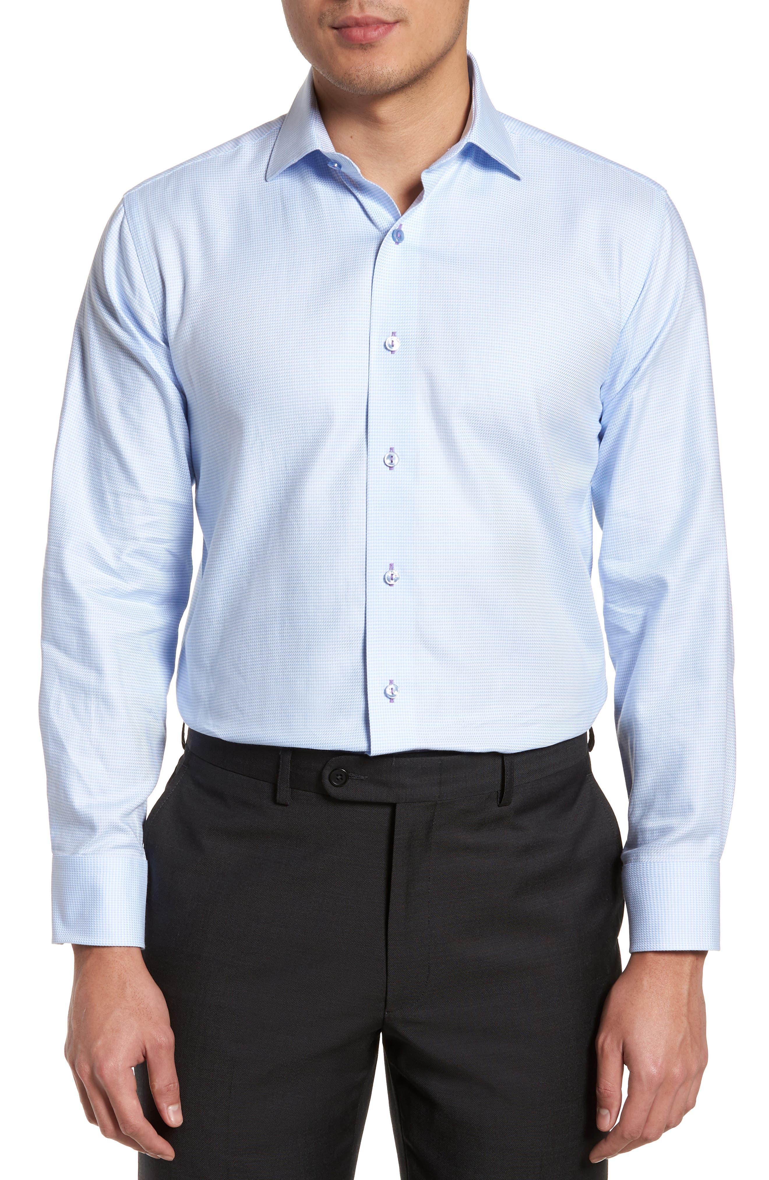 Trim Fit Houndstooth Dress Shirt,                         Main,                         color, Light Blue