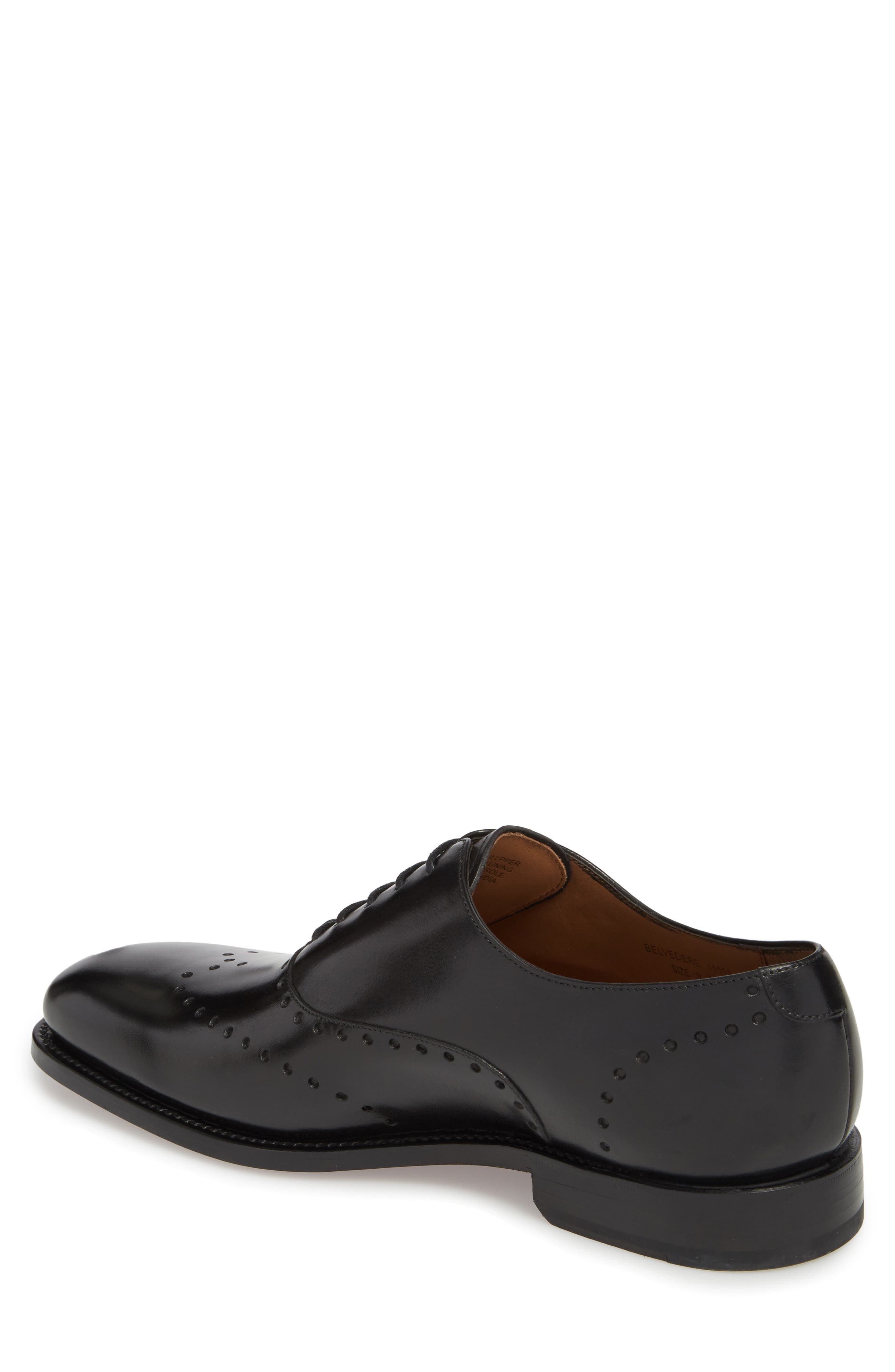 Belvedere Perforated Wingtip Oxford,                             Alternate thumbnail 2, color,                             Black