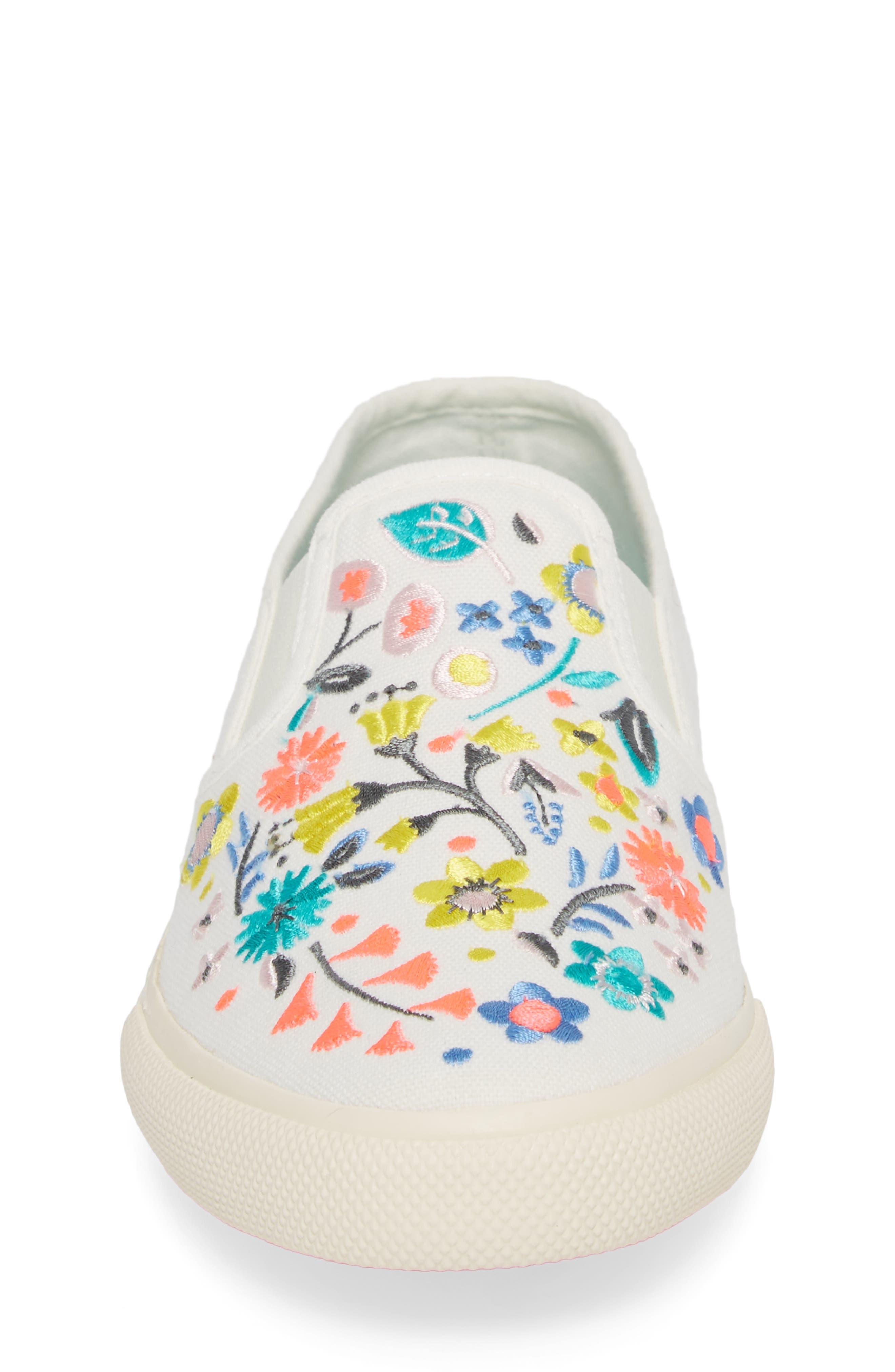 Boden Embroidered Slip-On Sneaker,                             Alternate thumbnail 4, color,                             Ecru