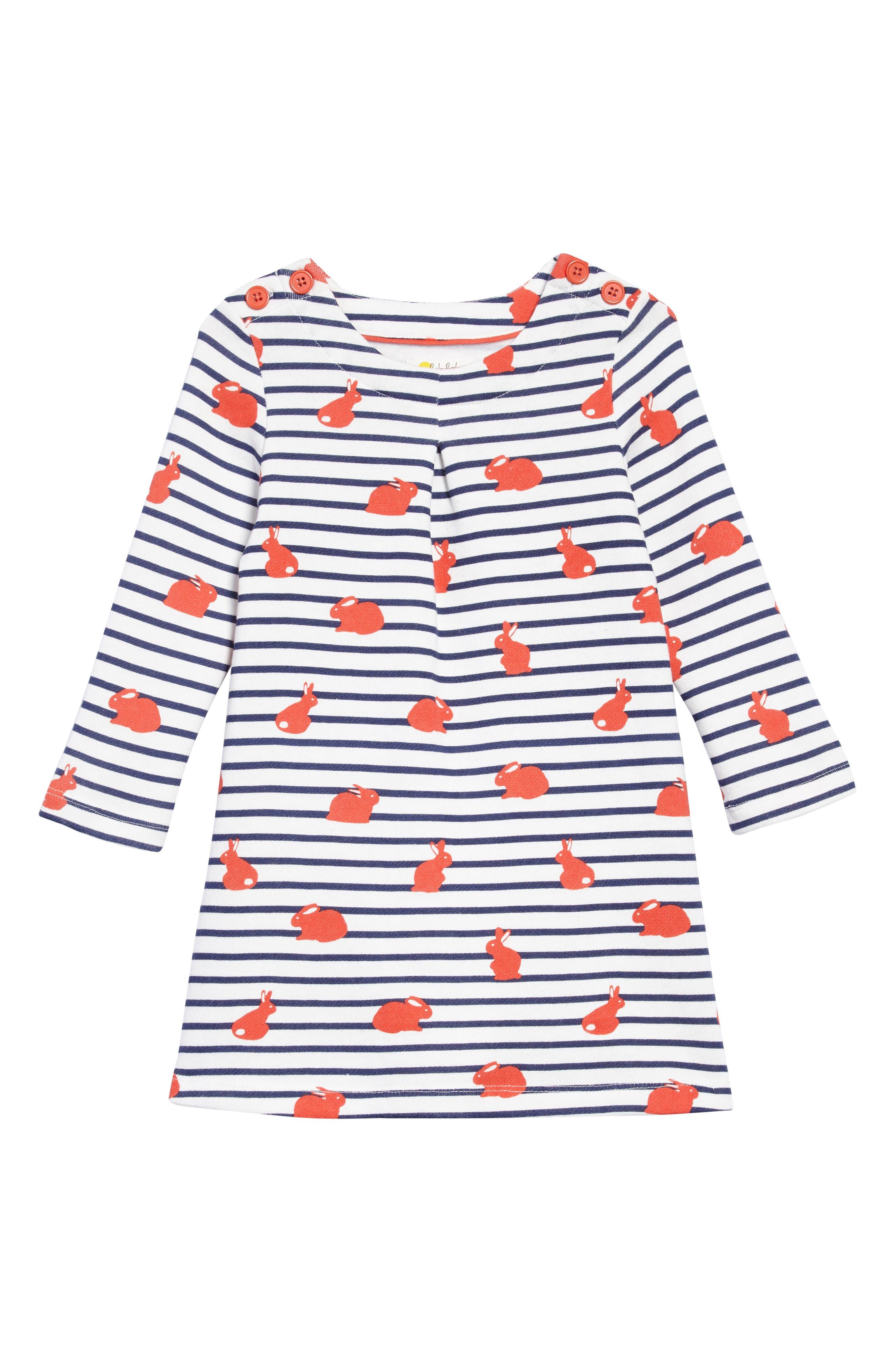 Fun Breton Stripe Dress,                             Main thumbnail 1, color,                             Melon Crush/ Orange Bunny