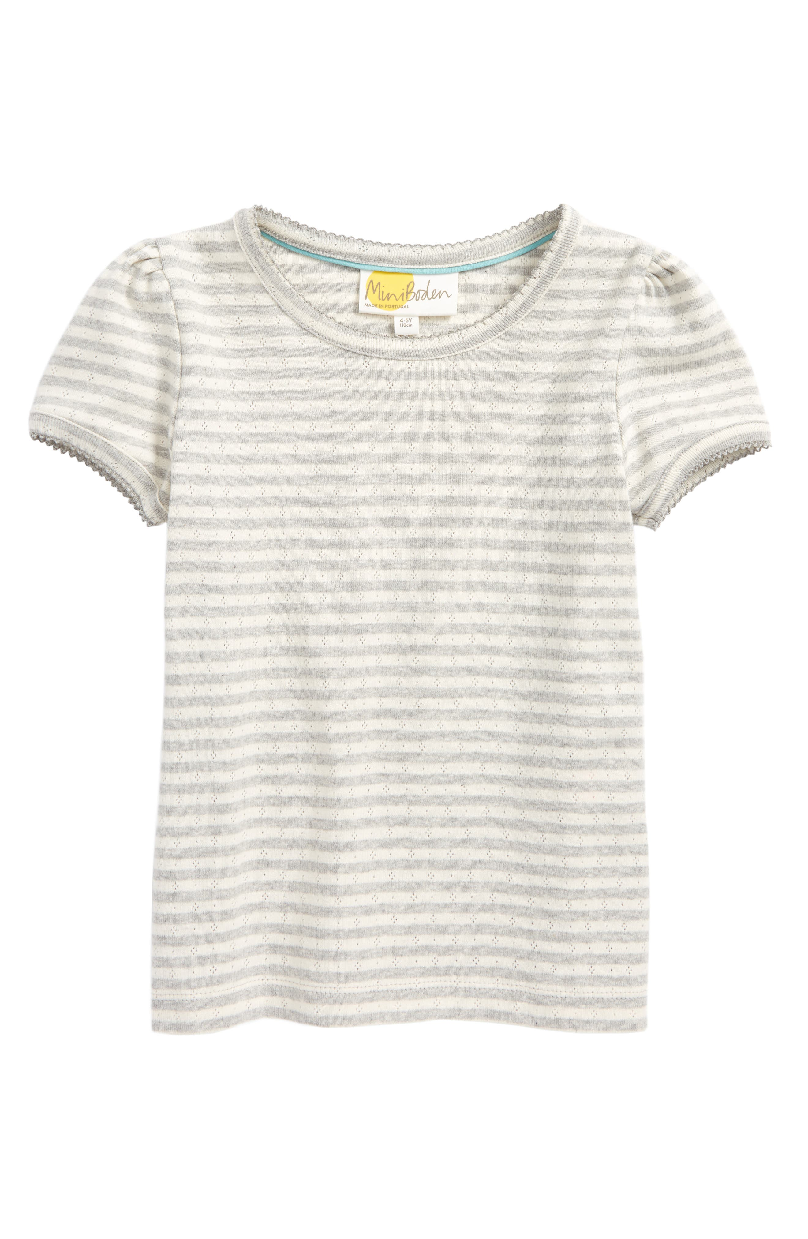 Pointelle Tee,                             Main thumbnail 1, color,                             Ecru/ Grey Marl