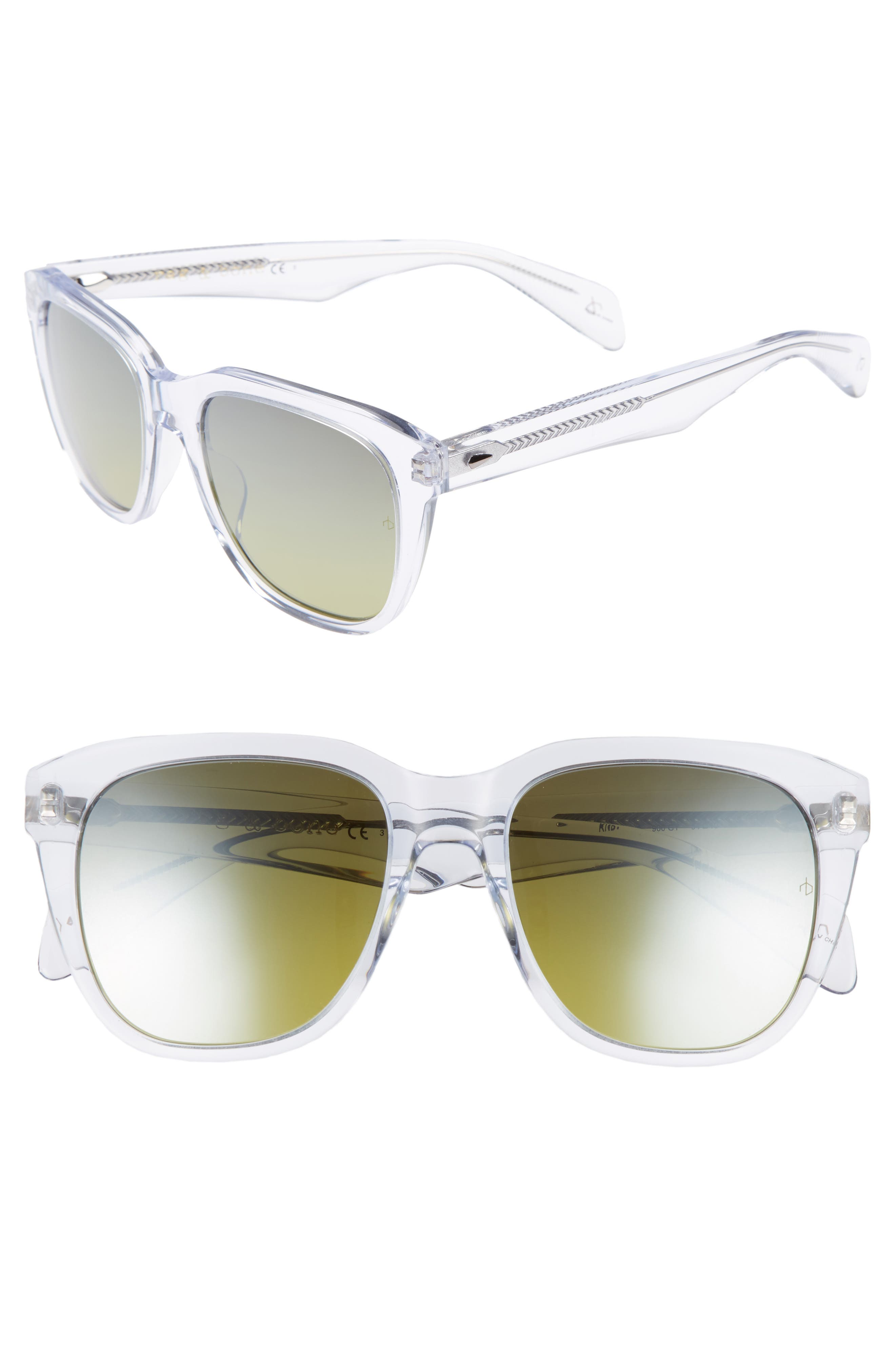 54mm Mirrored Sunglasses,                         Main,                         color, Crystal