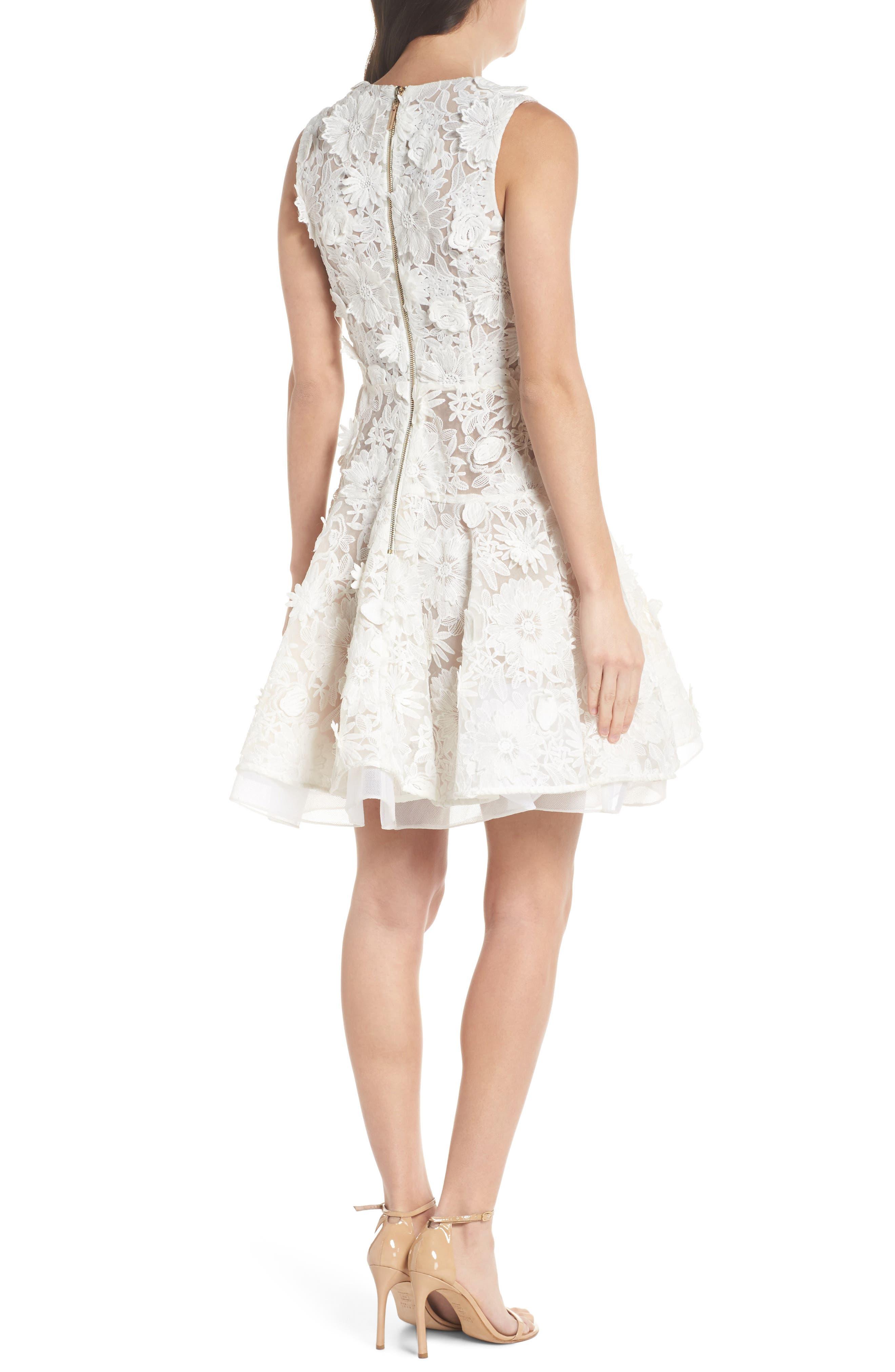 Mila Lace Fit & Flare Dress,                             Alternate thumbnail 2, color,                             White