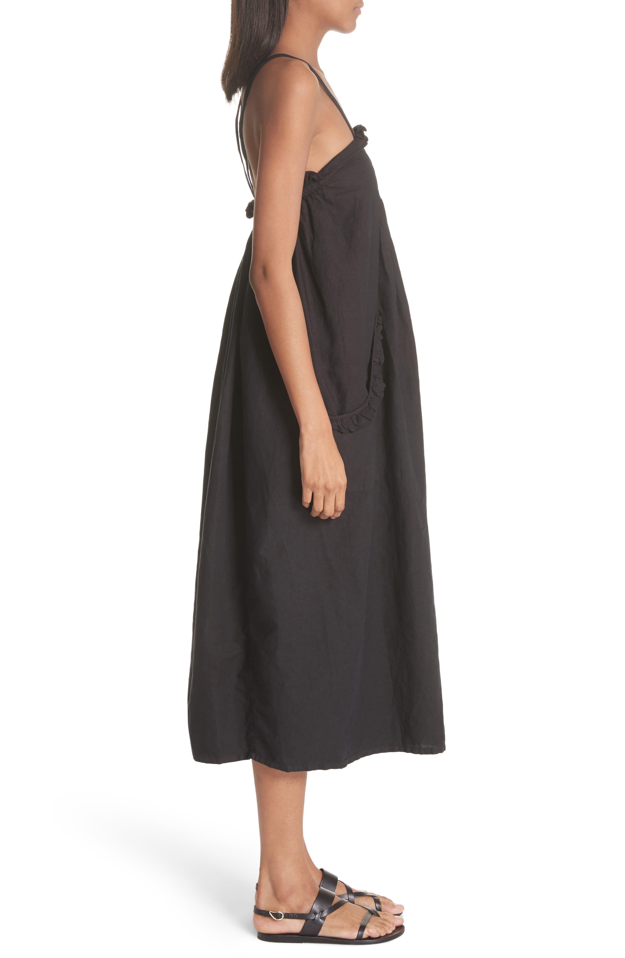 The Tulip Linen & Cotton Dress,                             Alternate thumbnail 4, color,                             Black