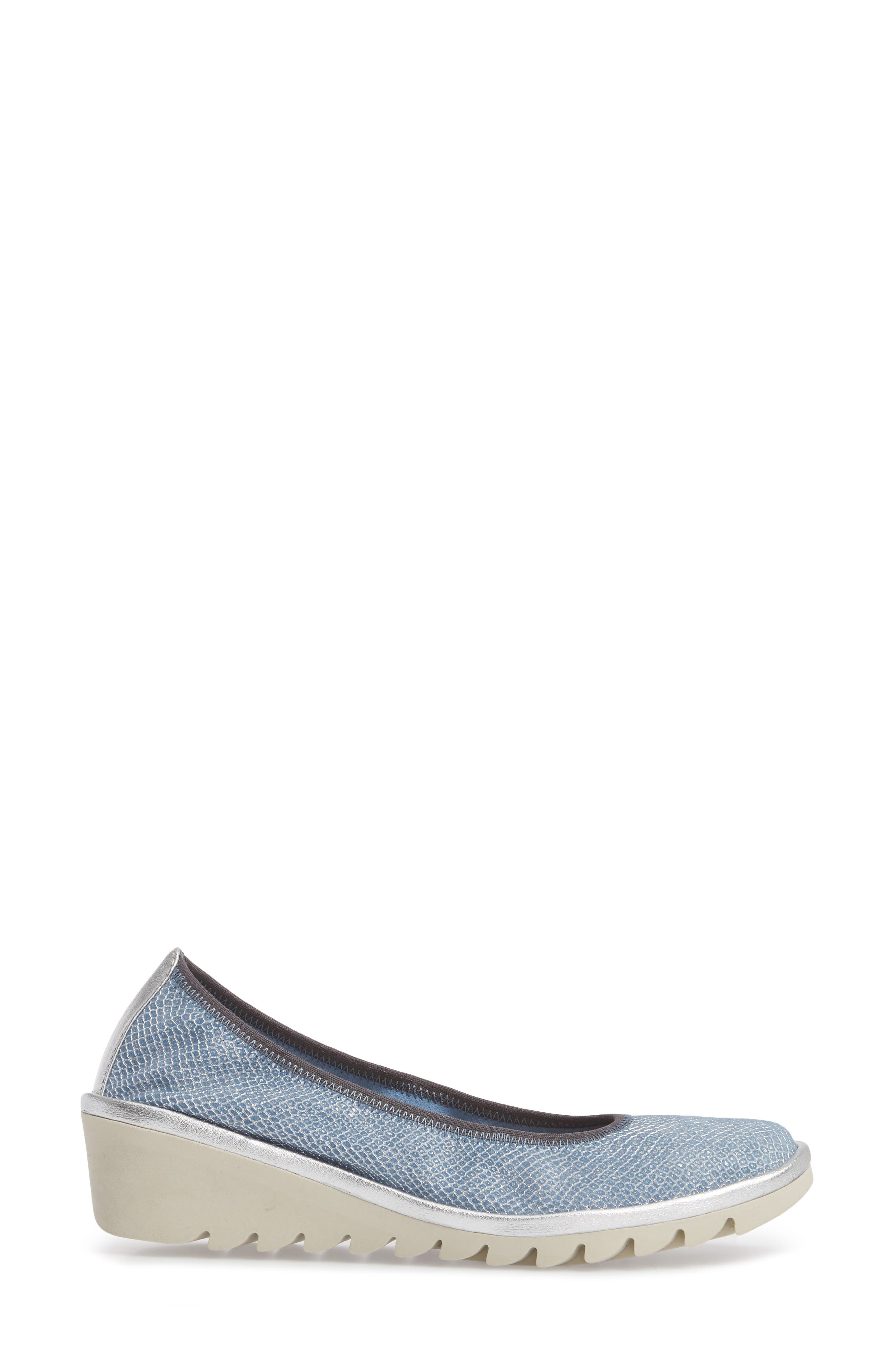 Mel A Drama Wedge Skimmer,                             Alternate thumbnail 3, color,                             Denim Leather