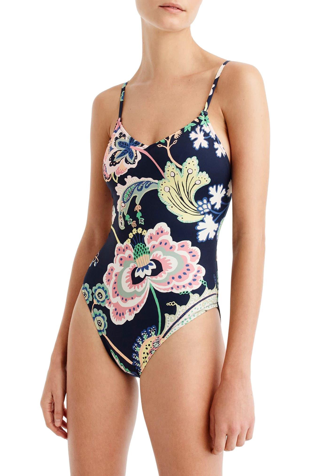 Ballet One-Piece Swimsuit,                             Main thumbnail 1, color,                             Navy Multi