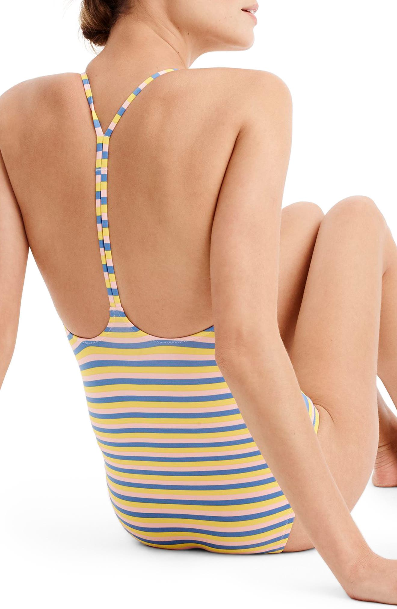 Stripe T-Back One-Piece Swimsuit,                             Alternate thumbnail 2, color,                             Pink Multi