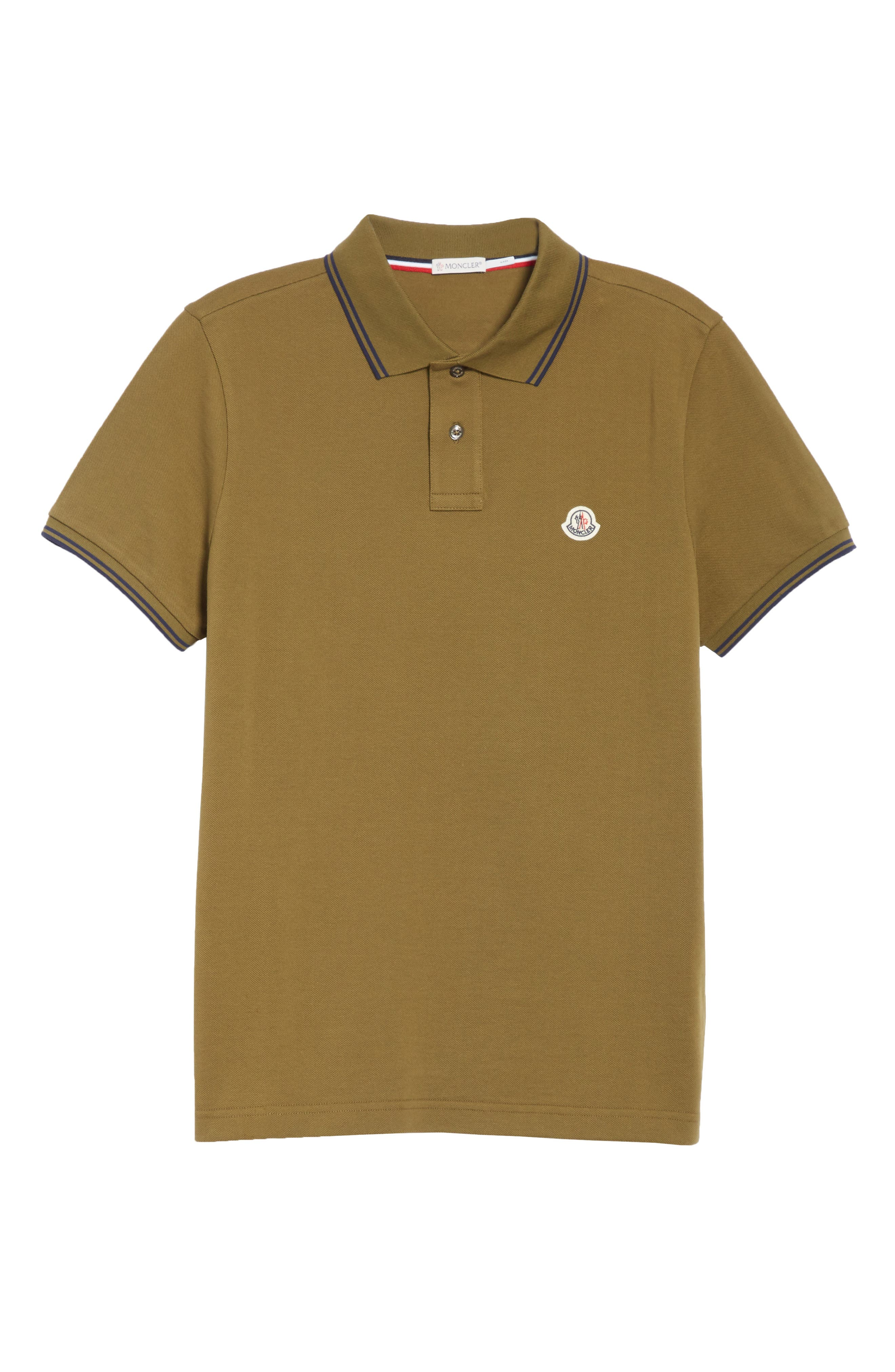Striped Collar Polo Shirt,                             Alternate thumbnail 6, color,                             Olive