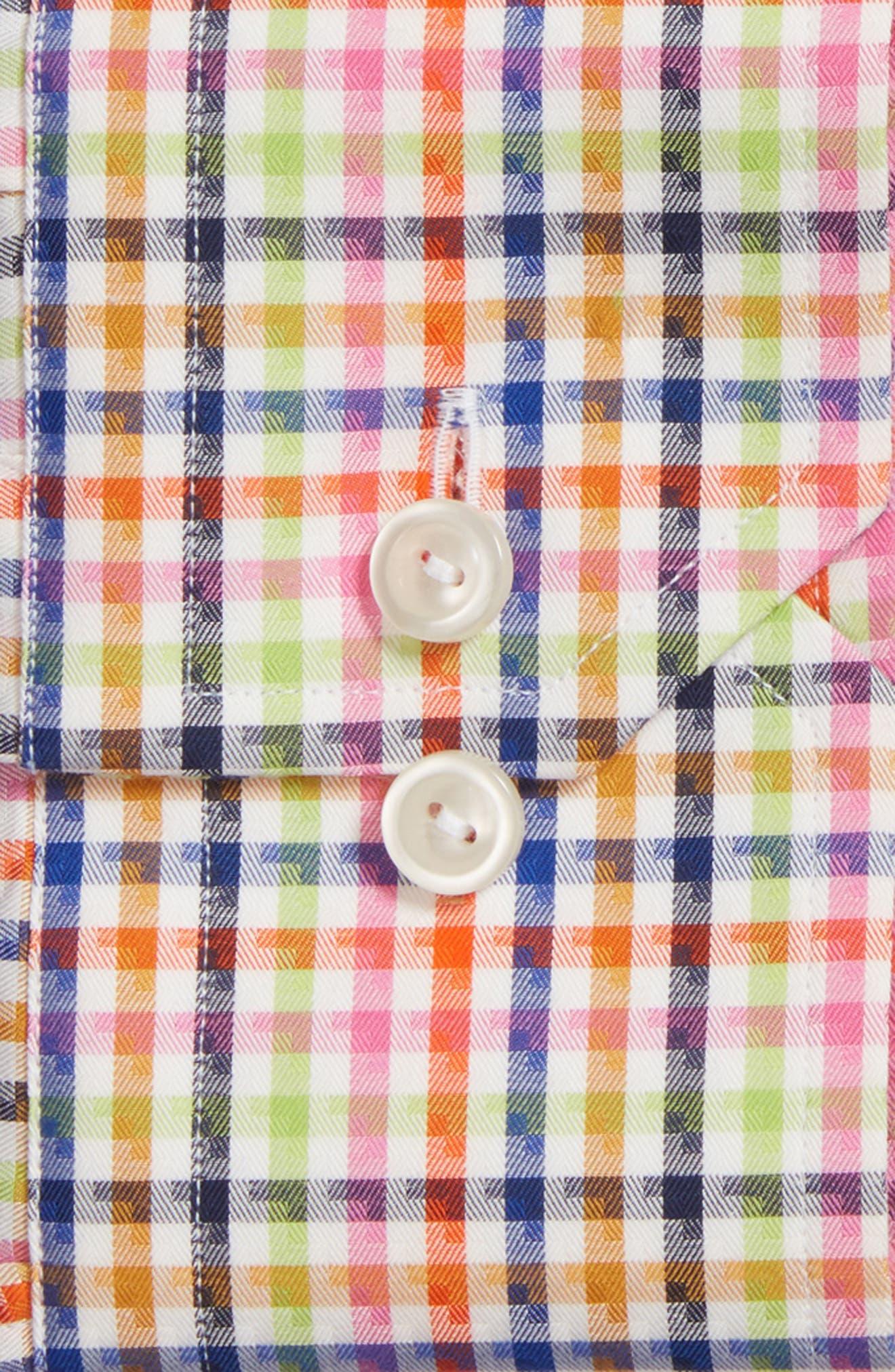 Slim Fit Check Dress Shirt,                             Alternate thumbnail 2, color,                             Pink Multi