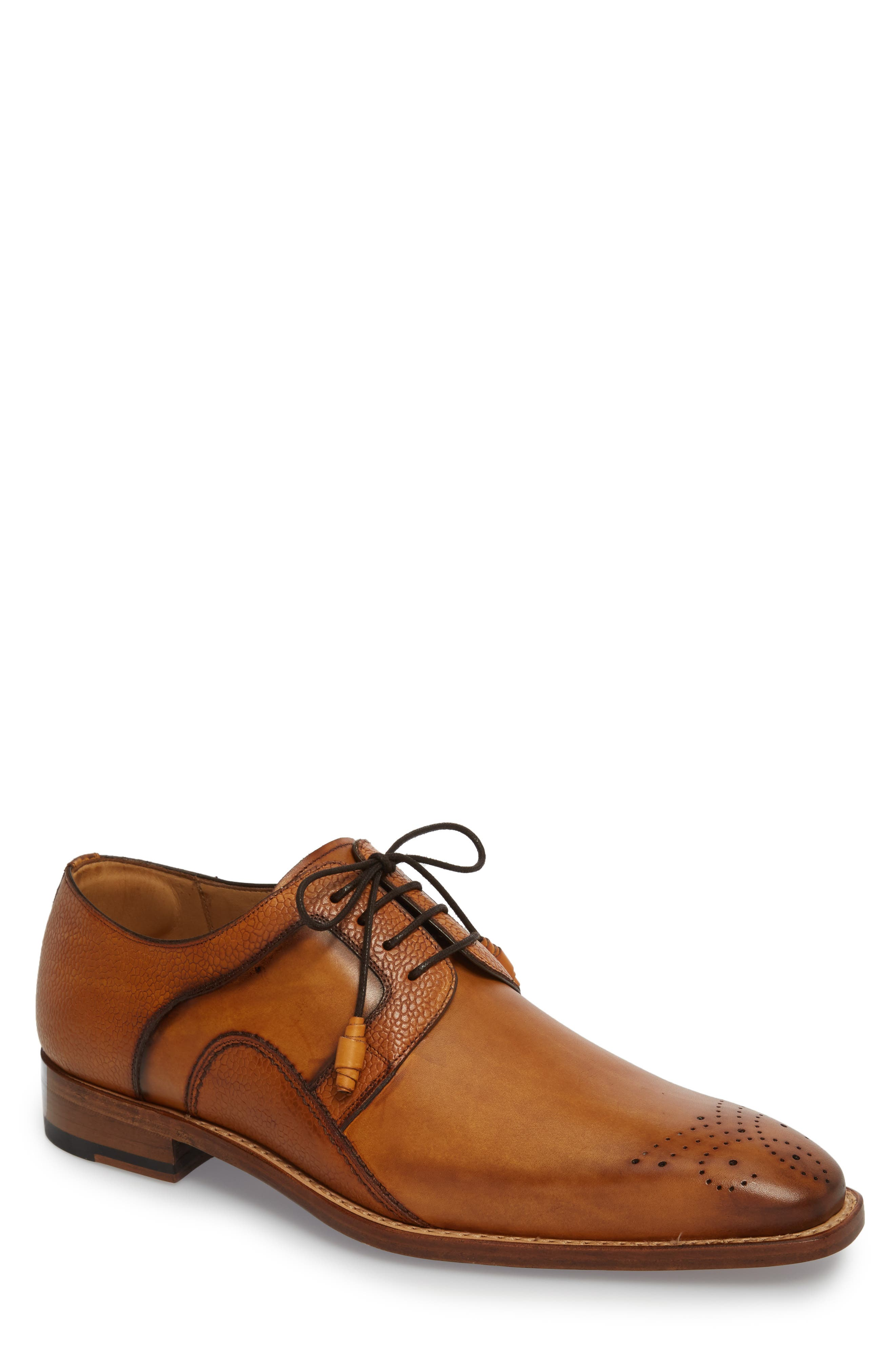 MEZLAN Saturno Medallion Toe Derby in Tan Leather