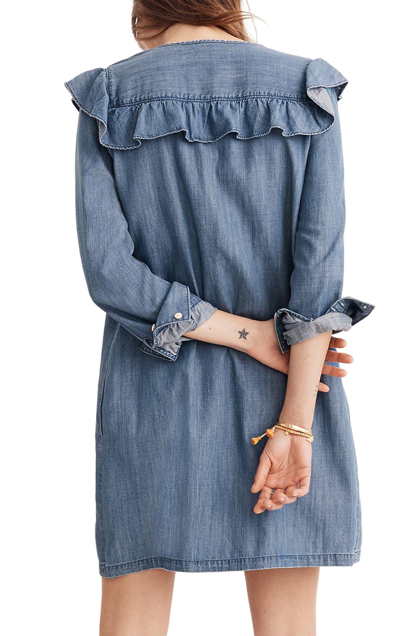 Ruffle Yoke Chambray Shirtdress,                             Alternate thumbnail 2, color,                             Aimee Wash