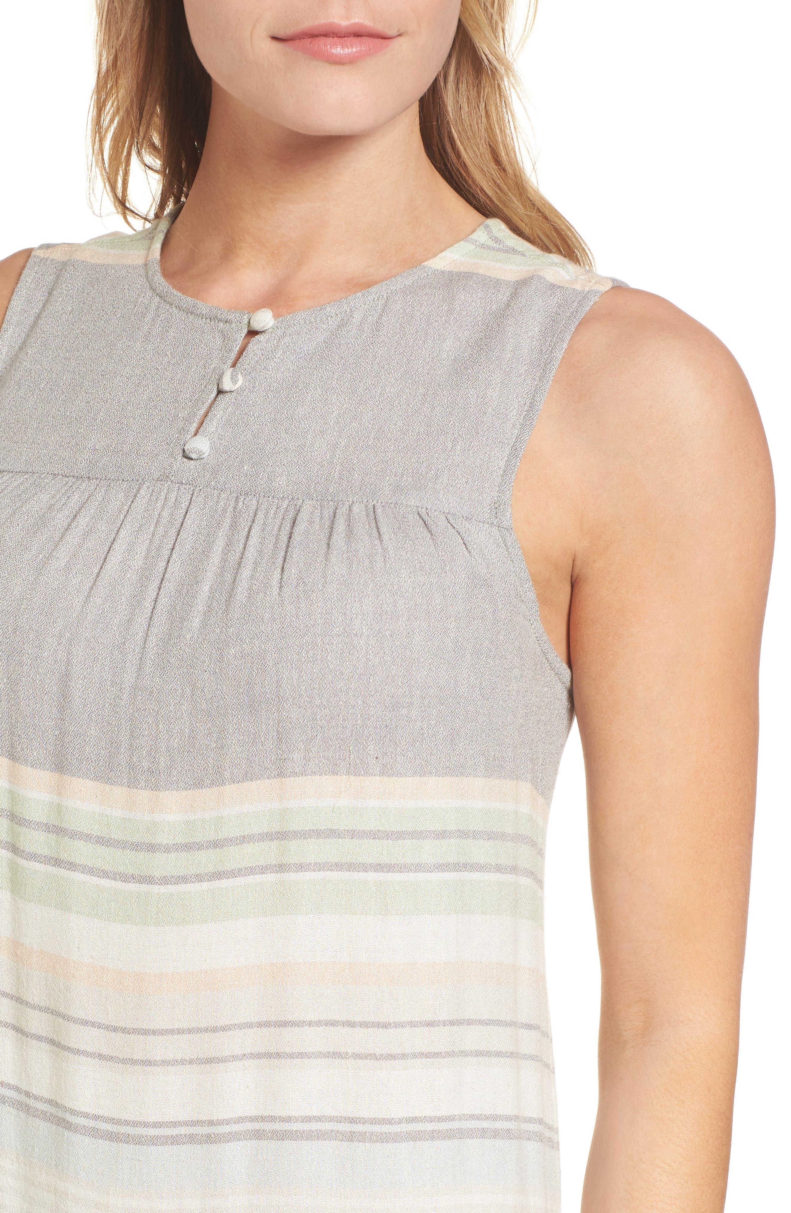 Multi Stripe Woven Maxi Dress,                             Alternate thumbnail 4, color,                             Green- Grey Vallis Stripe