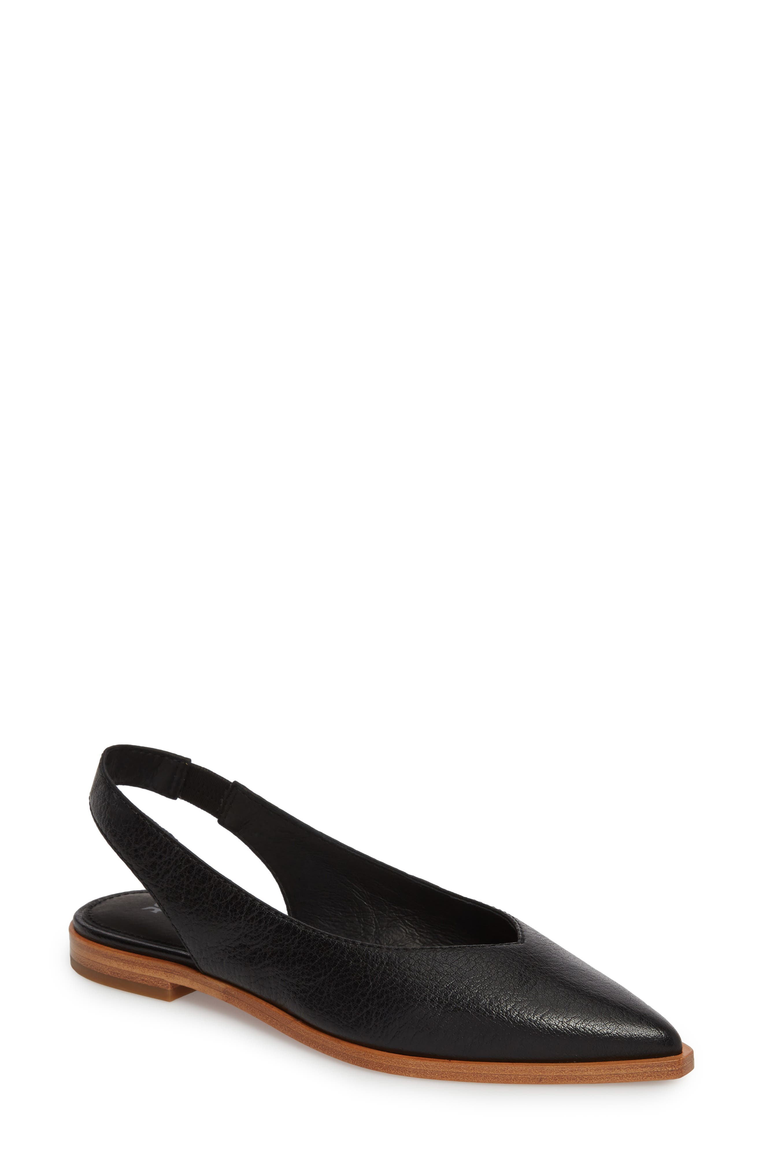 Kenzie Slingback Flat,                         Main,                         color, Black Leather