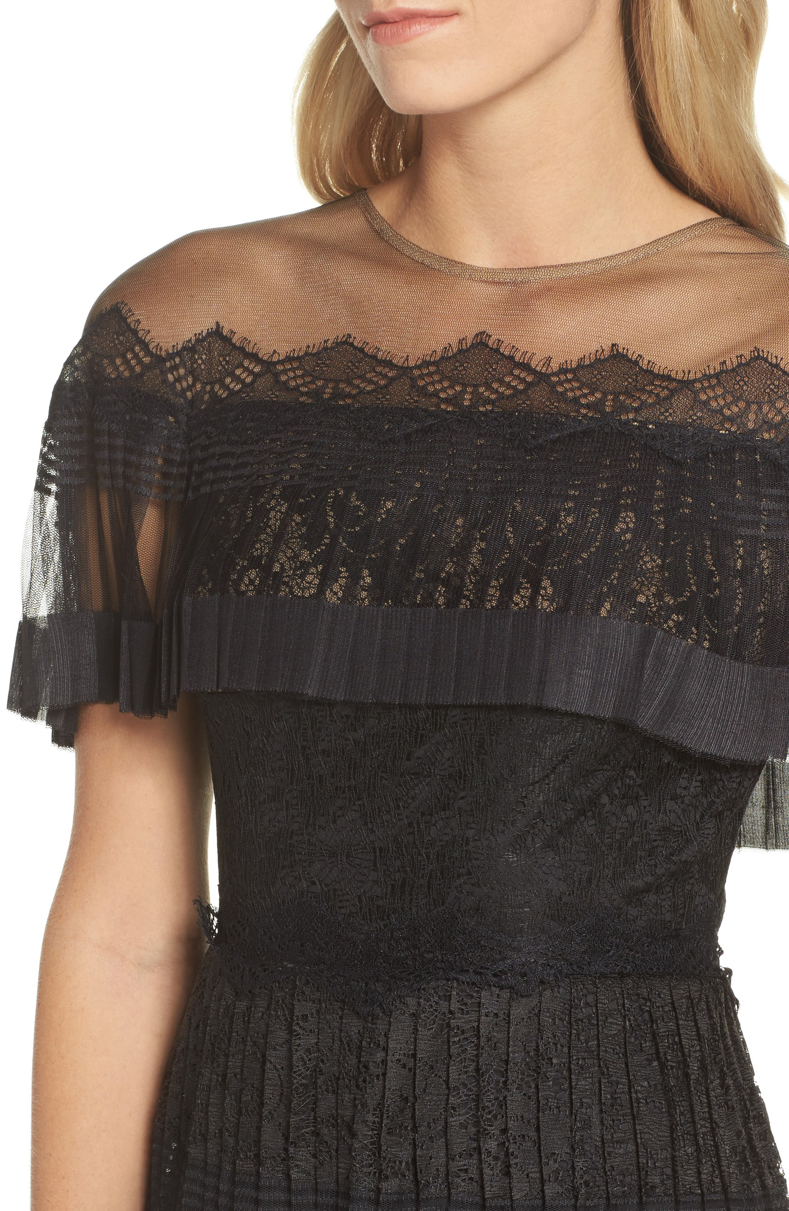 Pleated Lace Dress,                             Alternate thumbnail 4, color,                             Black/ Nude