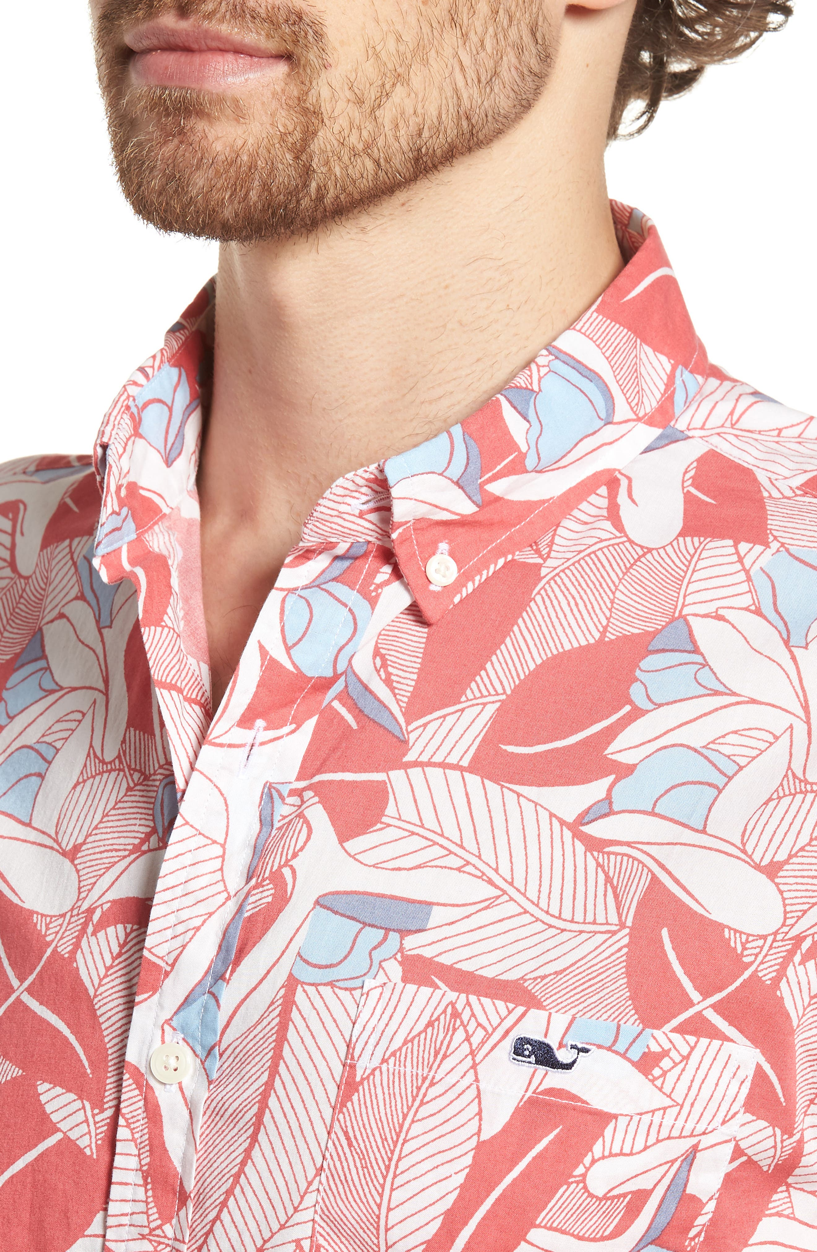 Flowers & Leaves Classic Fit Print Short Sleeve Sport Shirt,                             Alternate thumbnail 4, color,                             Jetty Red