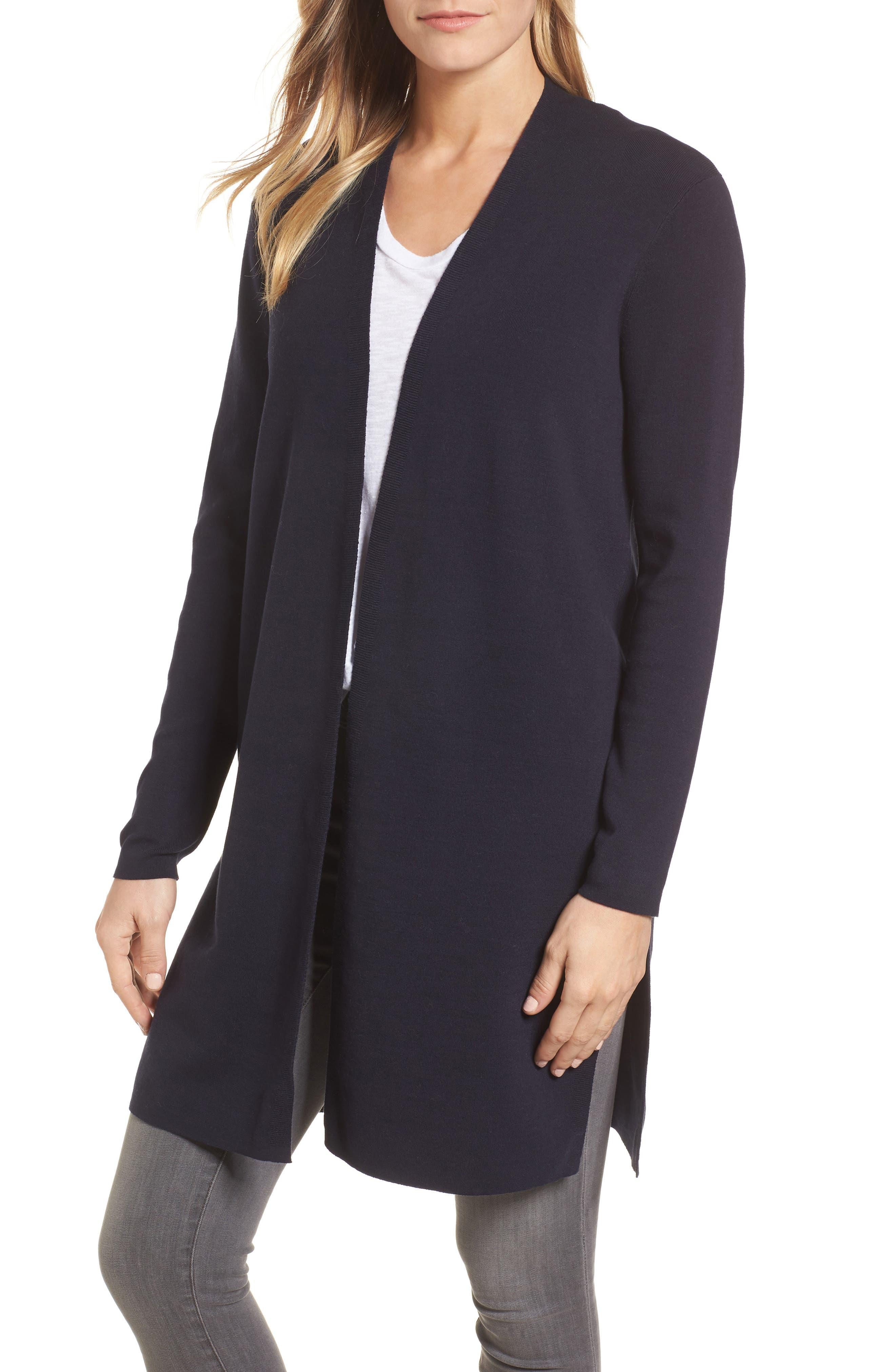 Long Ribbed Cardigan,                         Main,                         color, Navy Blazer