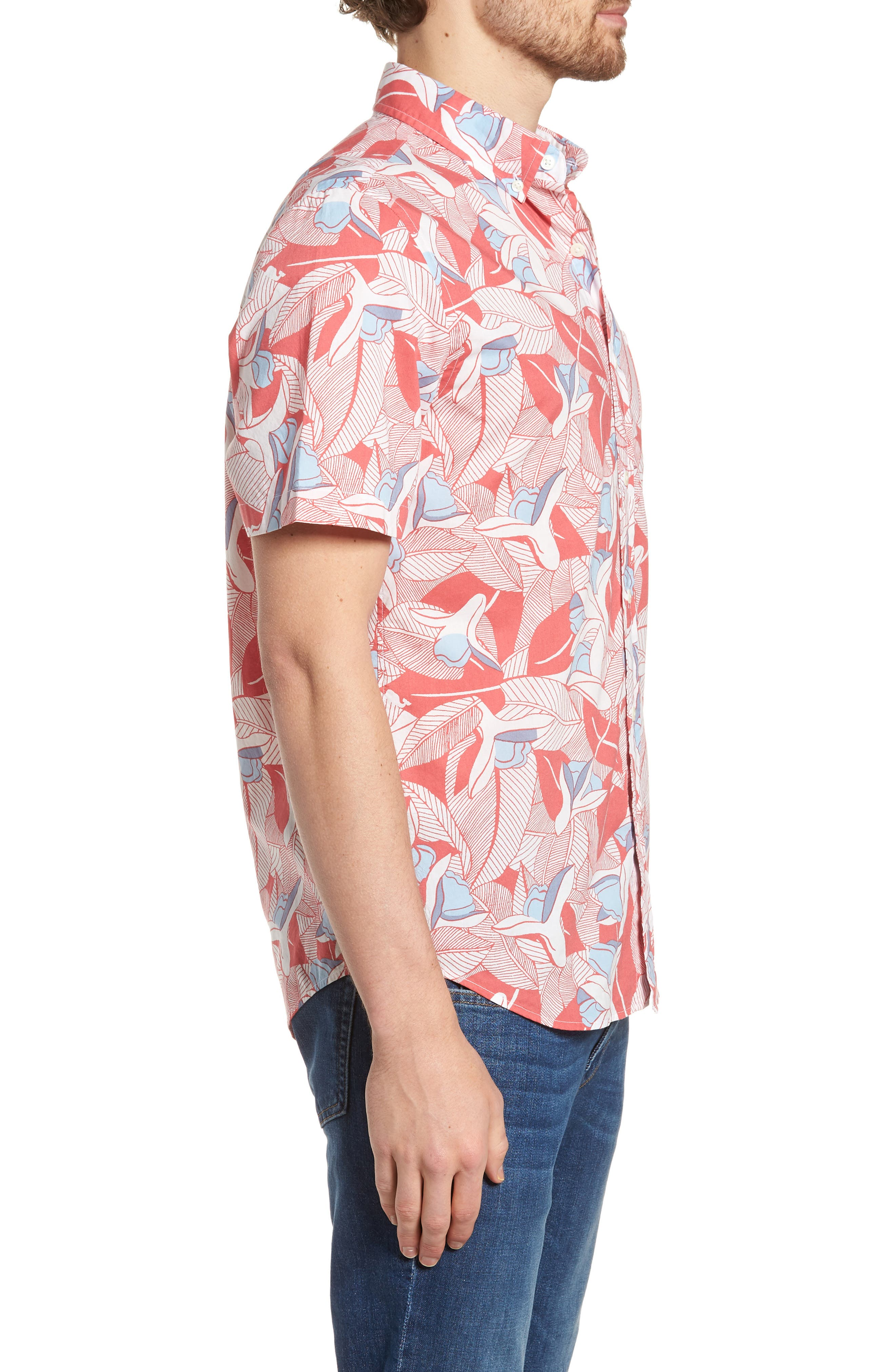 Flowers & Leaves Classic Fit Print Short Sleeve Sport Shirt,                             Alternate thumbnail 3, color,                             Jetty Red