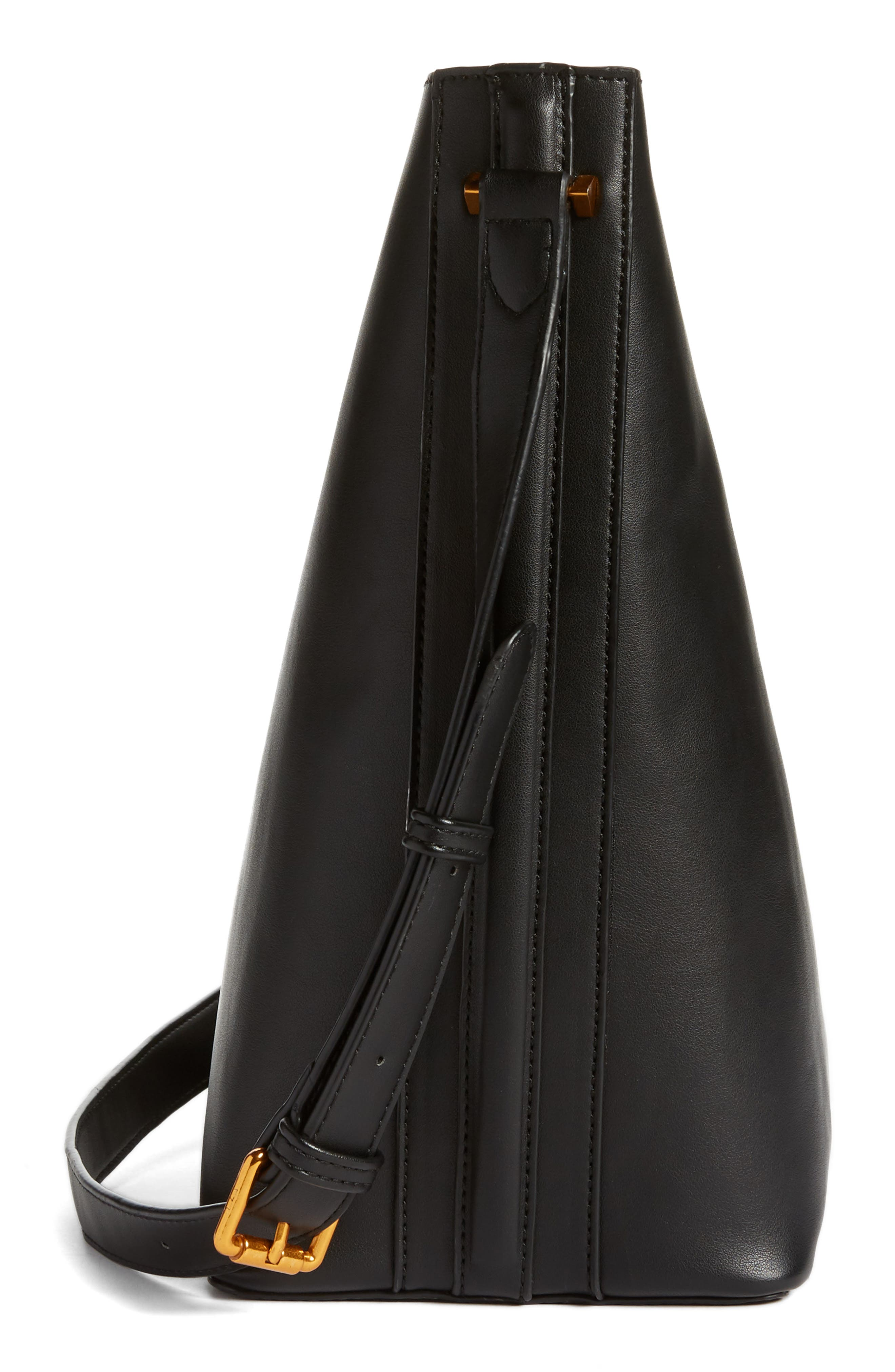 Faux Leather Bucket Tote,                             Alternate thumbnail 5, color,                             Black