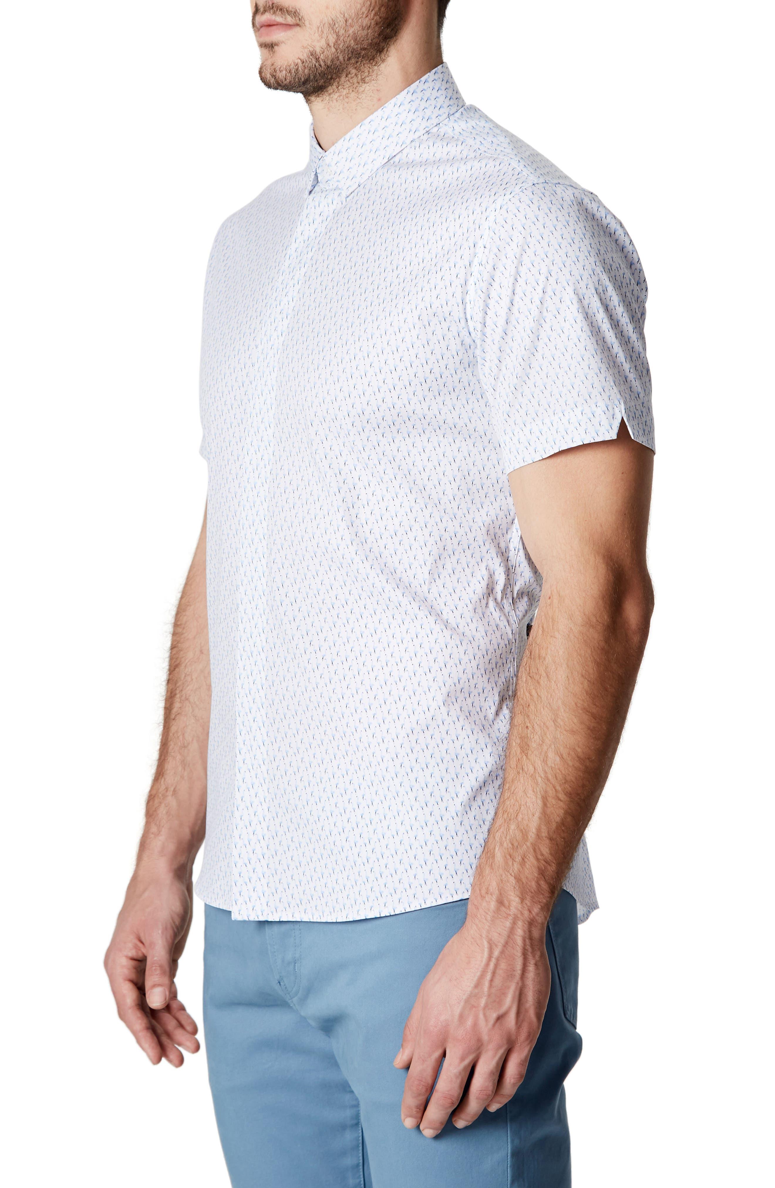 Charm School Trim Fit Short Sleeve Sport Shirt,                             Alternate thumbnail 3, color,                             Blue