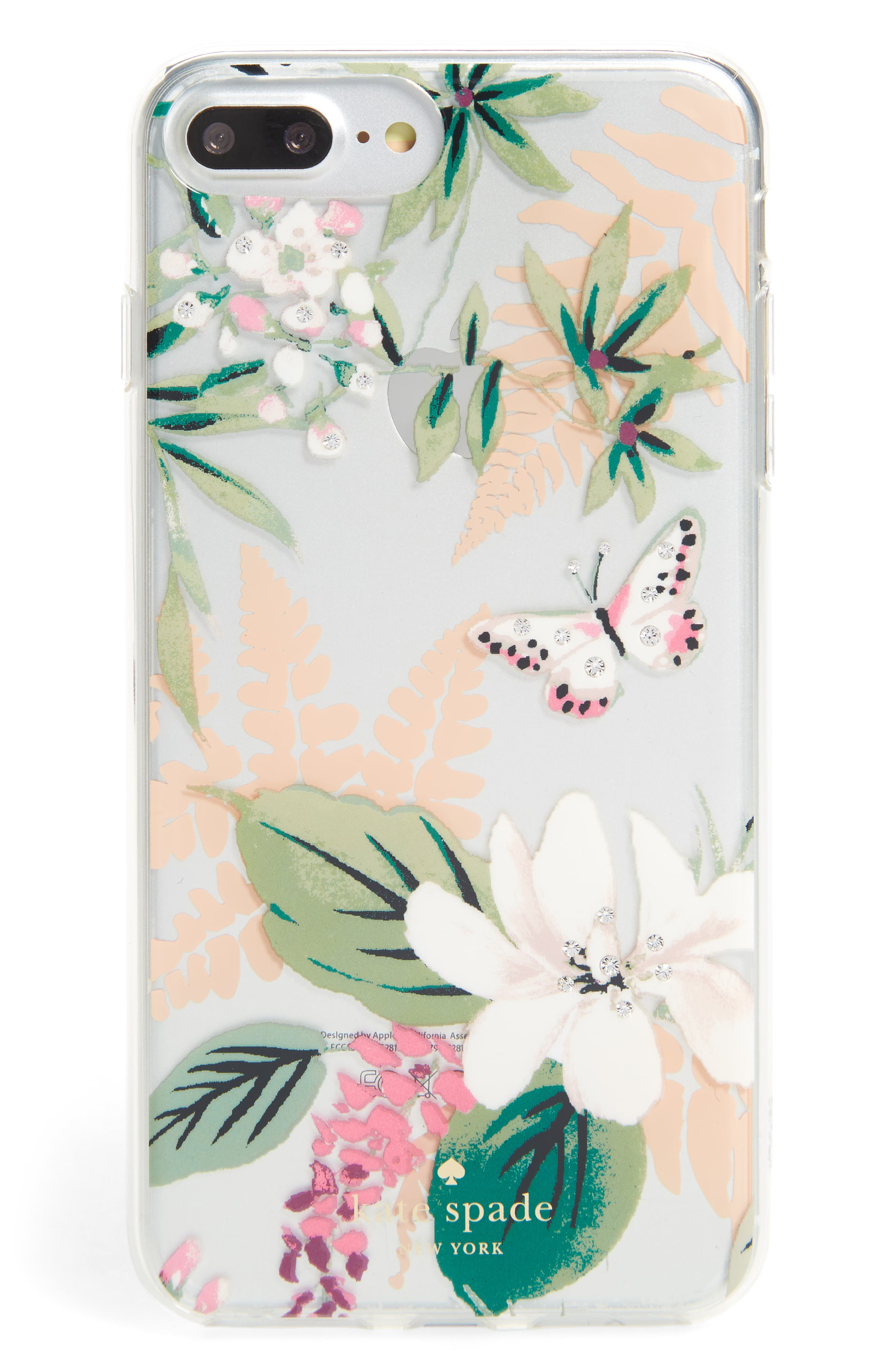 kate spade new york jeweled botanical transparent iPhone 7/8 & 7/8 Plus case