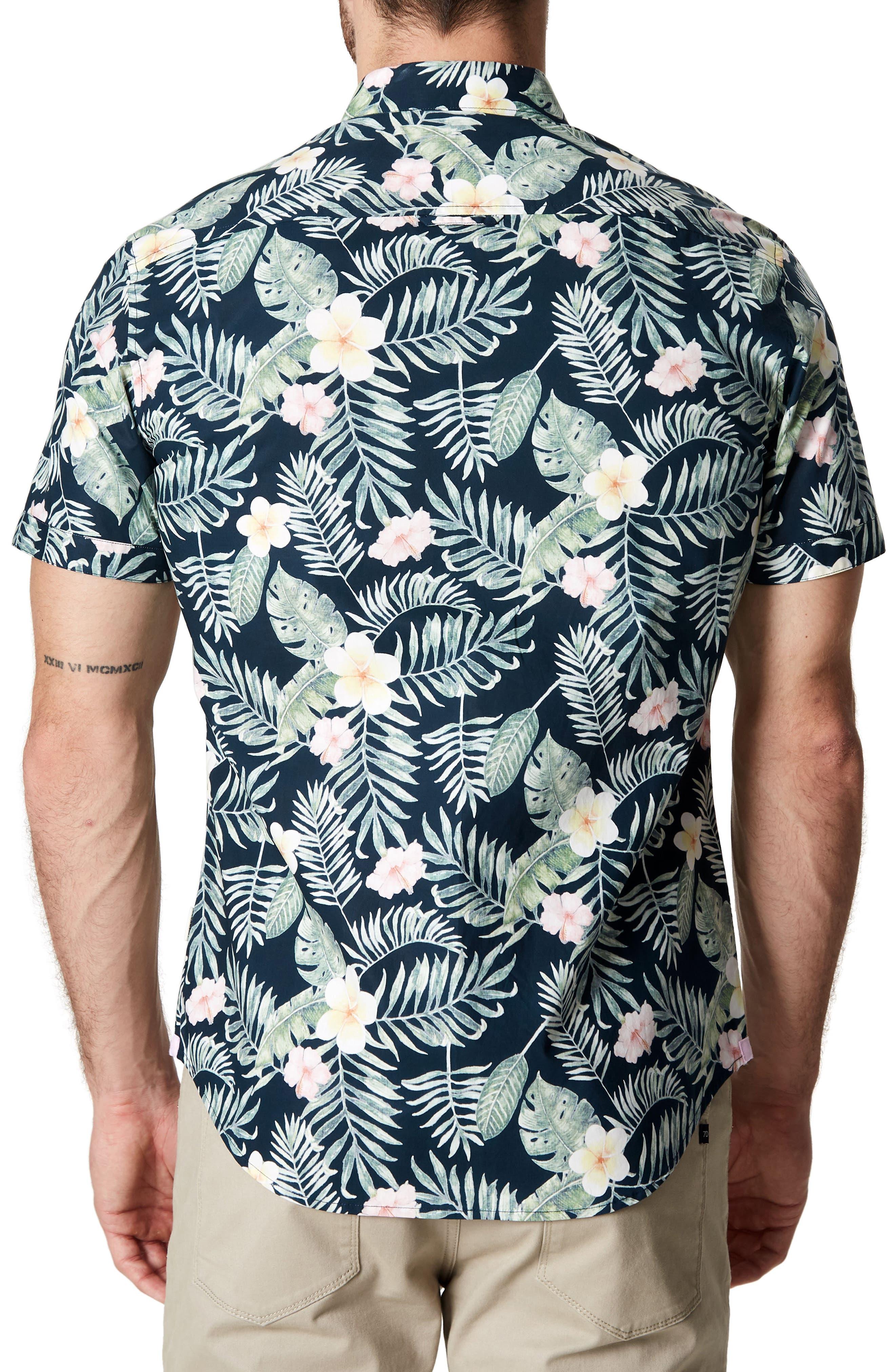 Zanzibar Trim Fit Short Sleeve Sport Shirt,                             Alternate thumbnail 2, color,                             Black