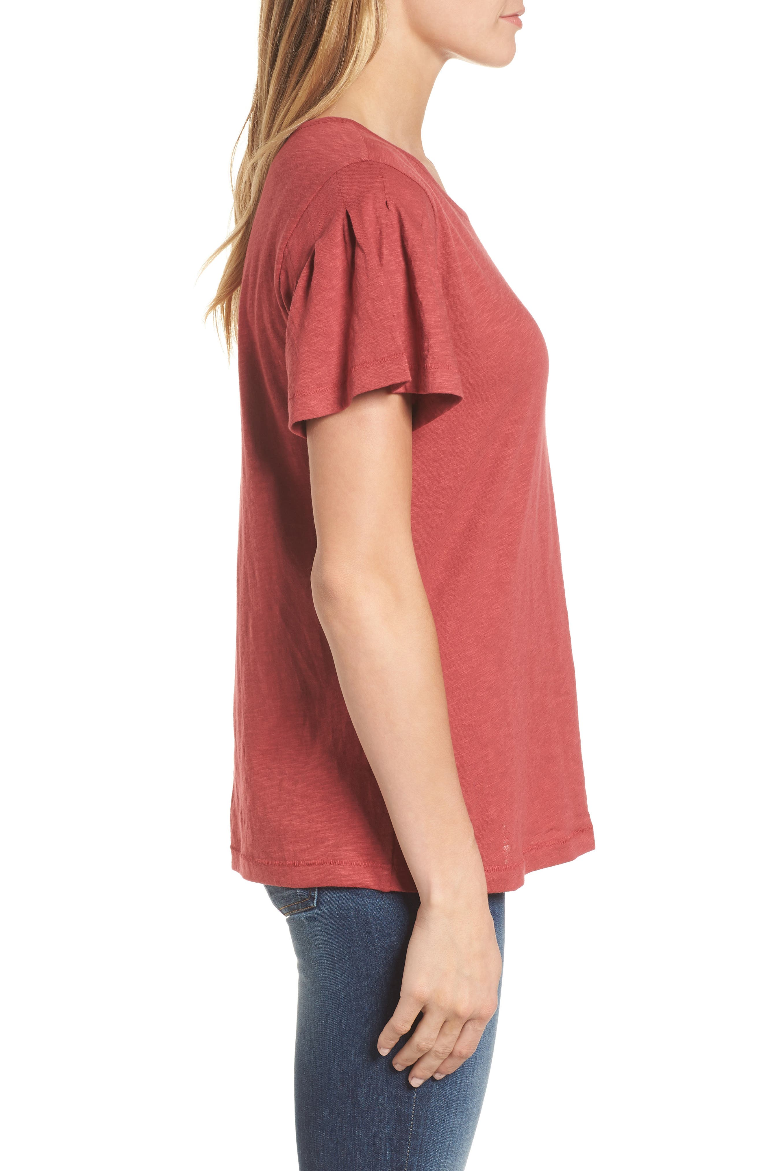 Pleat Sleeve Cotton Tee,                             Alternate thumbnail 3, color,                             Red Earth