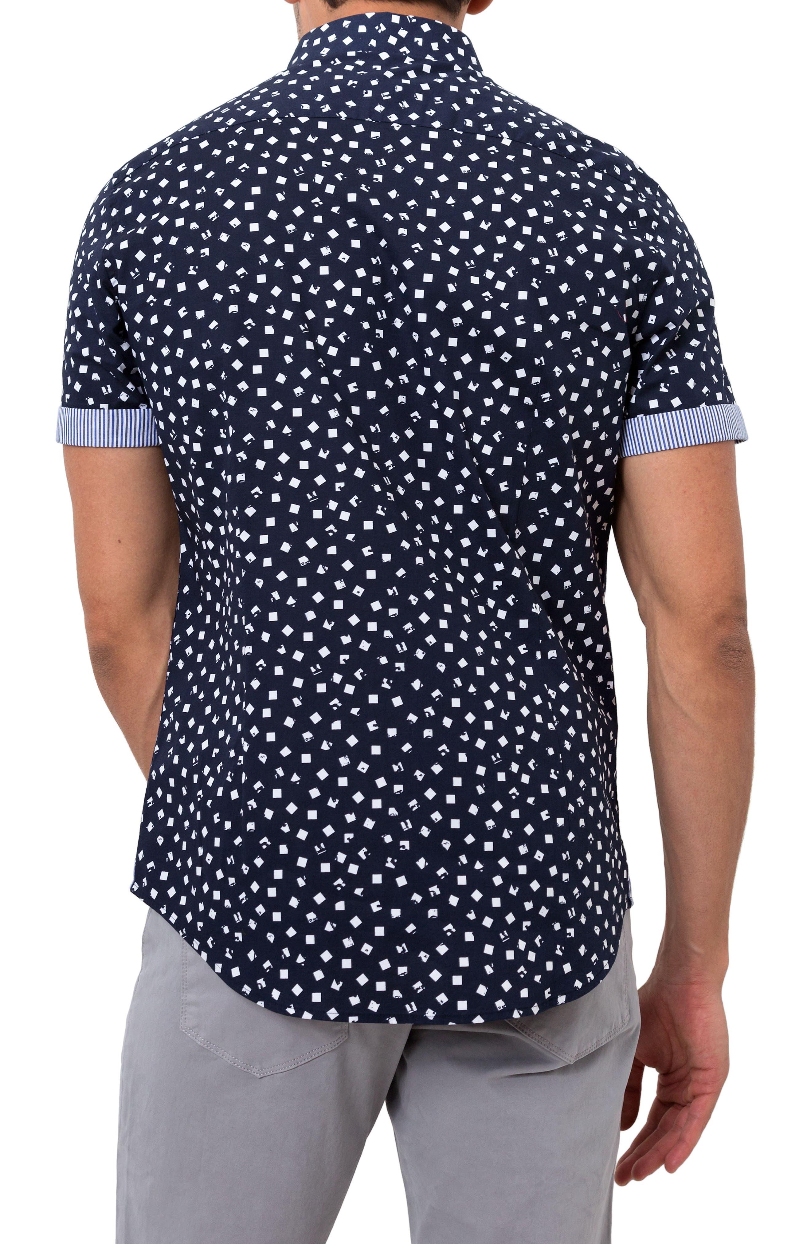 Soldier of Love Trim Fit Short Sleeve Sport Shirt,                             Alternate thumbnail 2, color,                             Navy