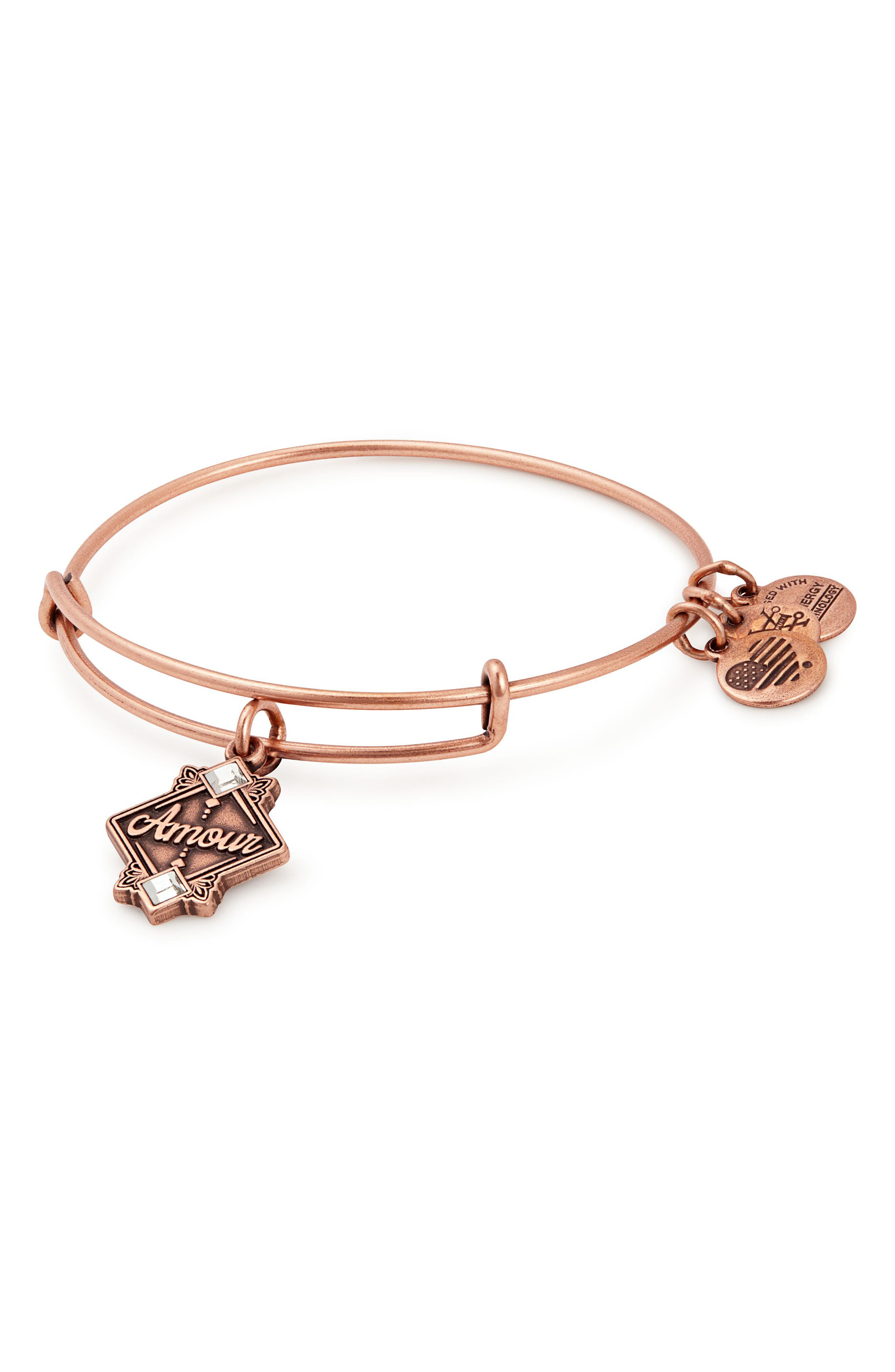 Amour Charm Bangle,                         Main,                         color, Rose Gold