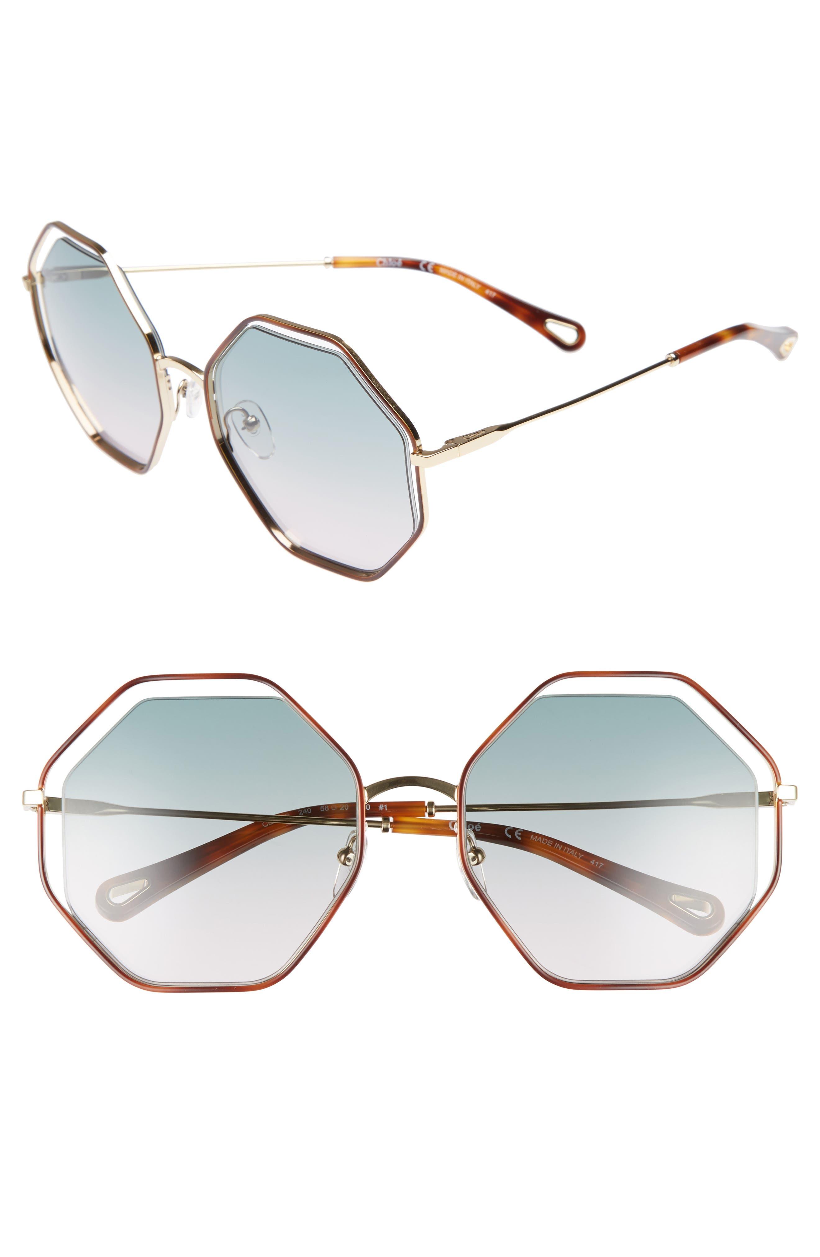 58mm Octagonal Halo Lens Sunglasses,                             Main thumbnail 1, color,                             Havana/ Green Rose