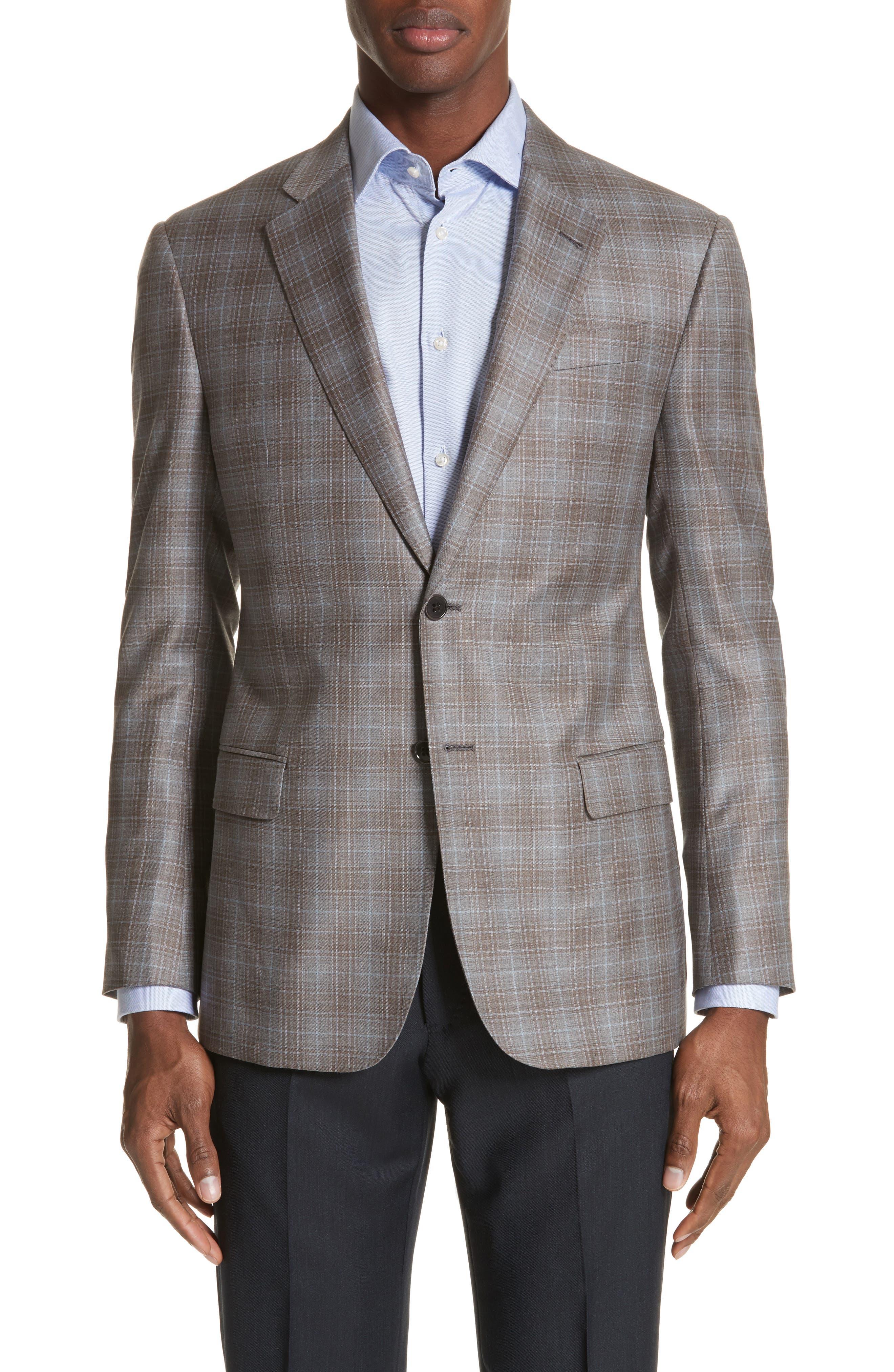G-Line Trim Fit Plaid Wool Sport Coat,                             Main thumbnail 1, color,                             Tan